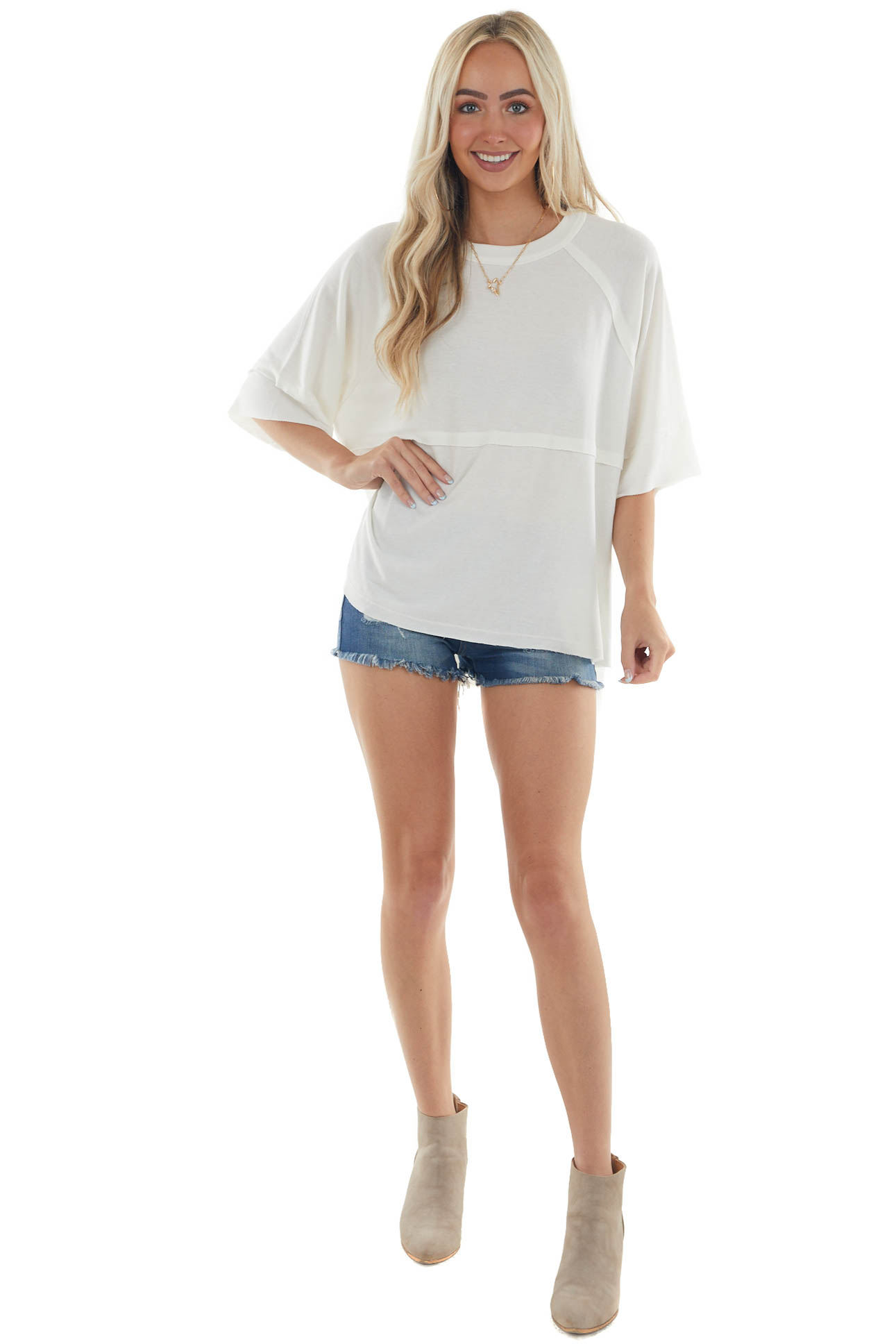 Eggshell Flowy Knit Top with Raw Edge Details