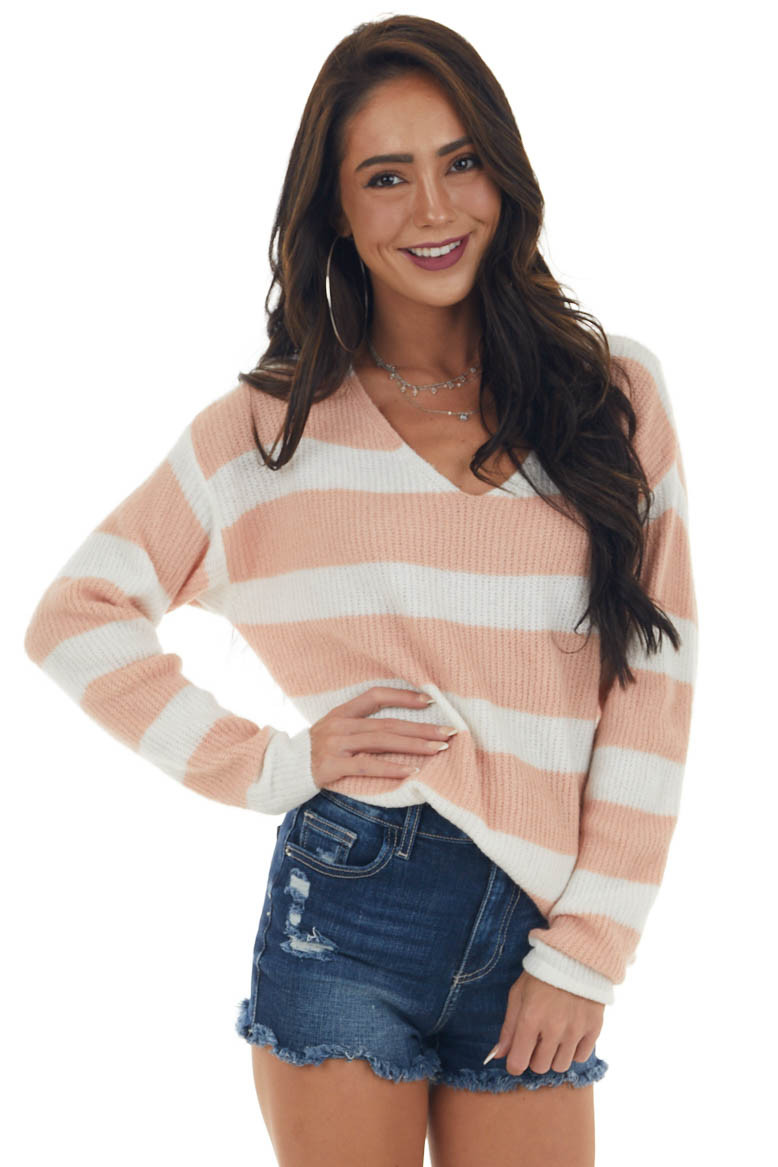Ivory and Coral Soft Knit Long Sleeve Sweater