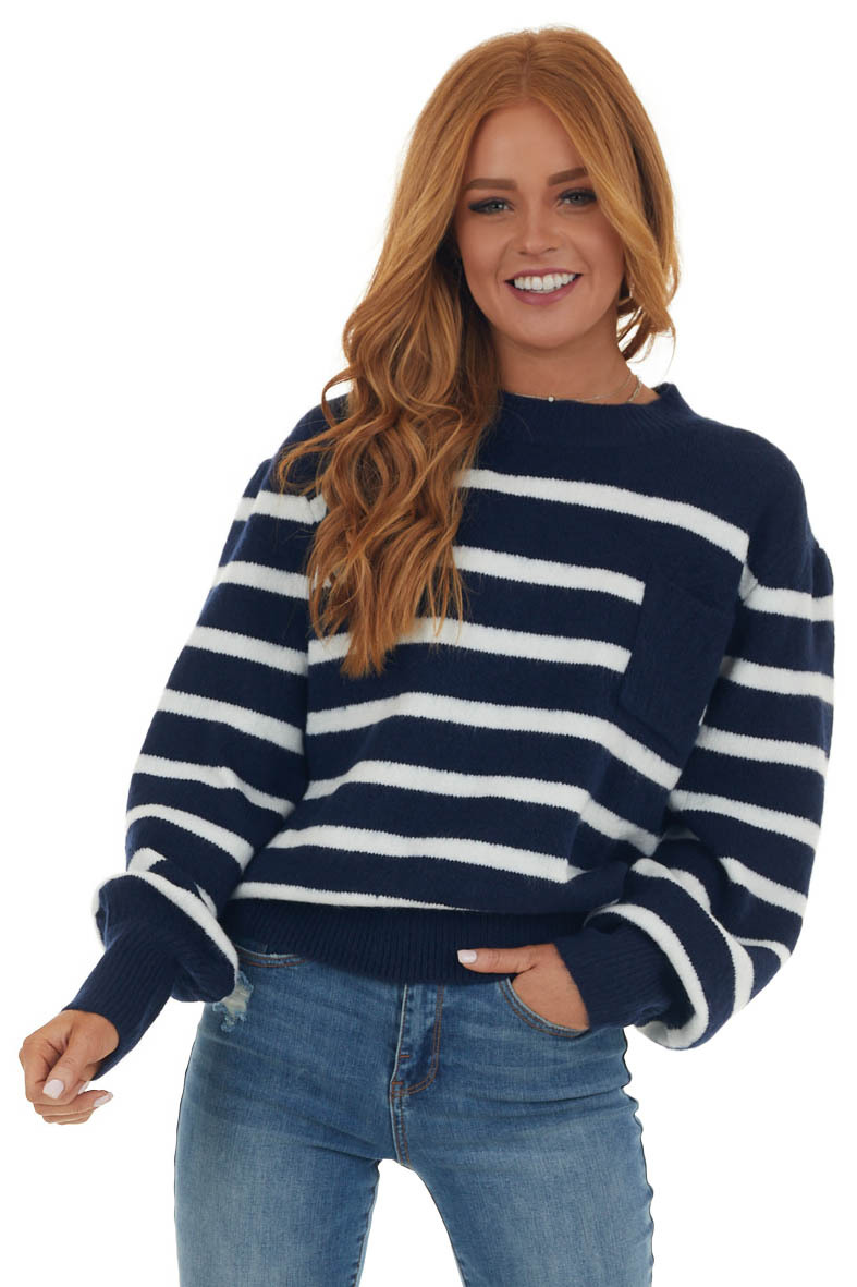 Navy Striped Long Puff Sleeve Knit Sweater