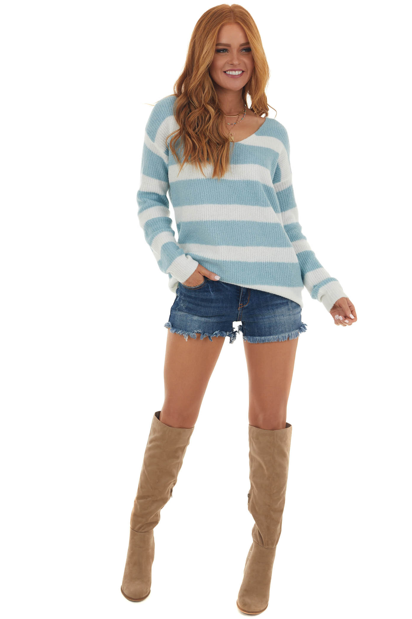 Ivory and Baby Blue Soft Long Sleeve Sweater