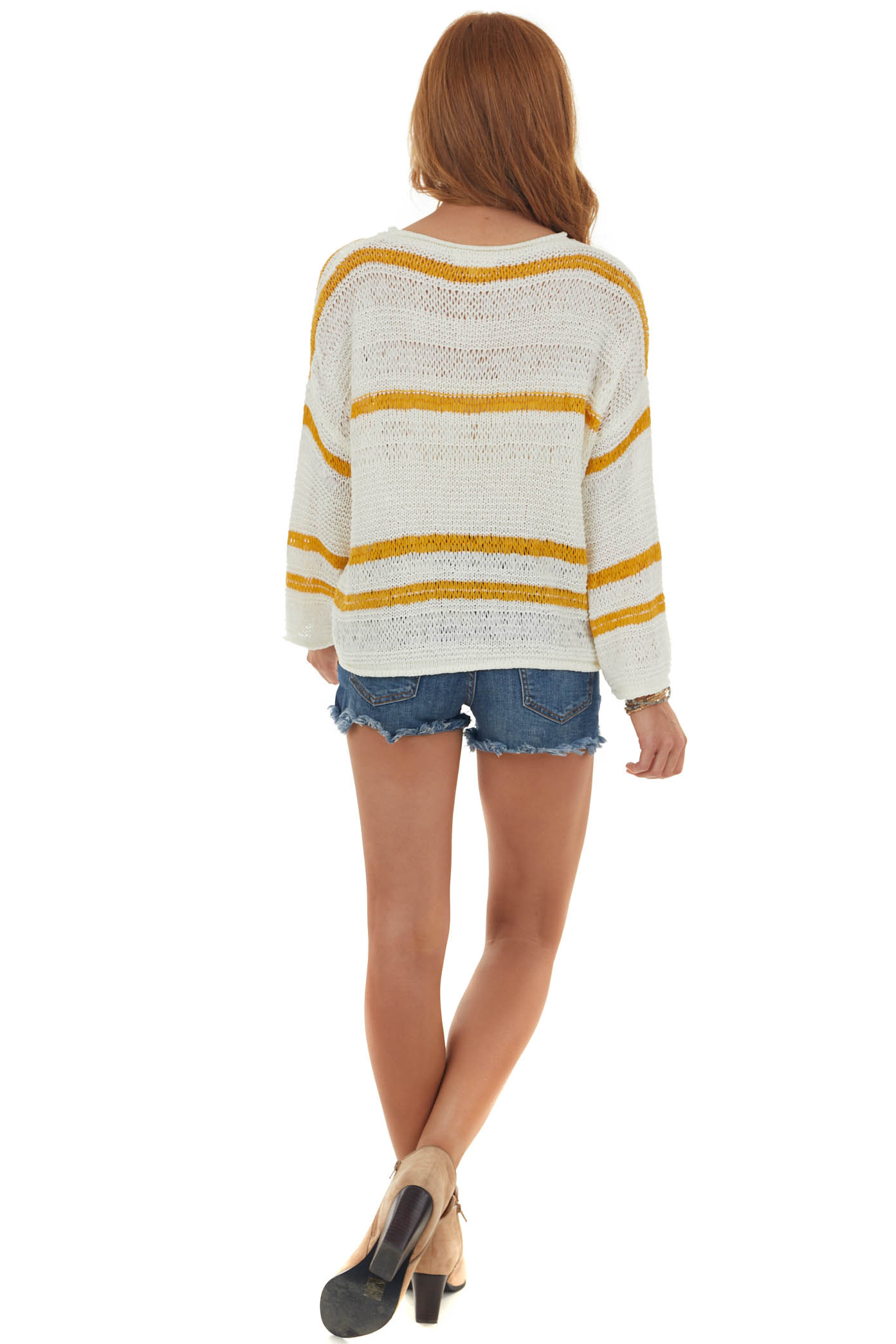 Ivory Striped Long Sleeve Loose Knit Sweater