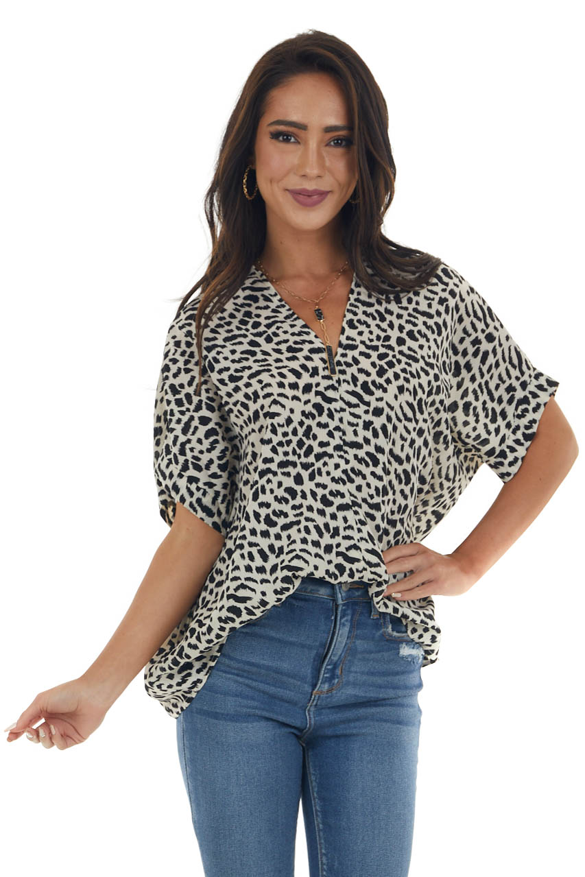Black and Ivory Leopard Short Sleeve Blouse