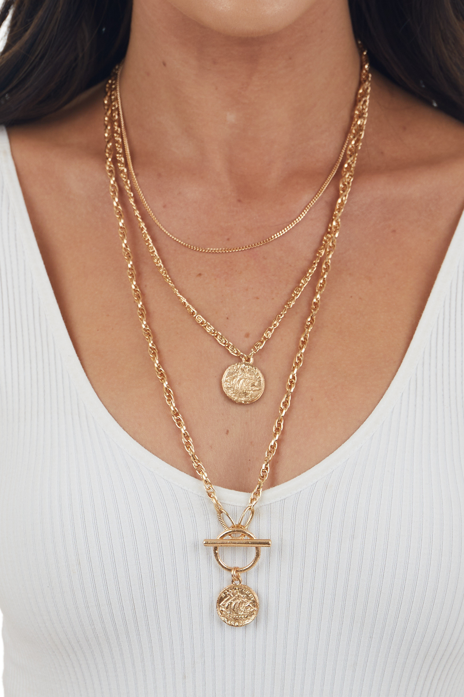 Gold Layered Chain Necklace with Coin Charms