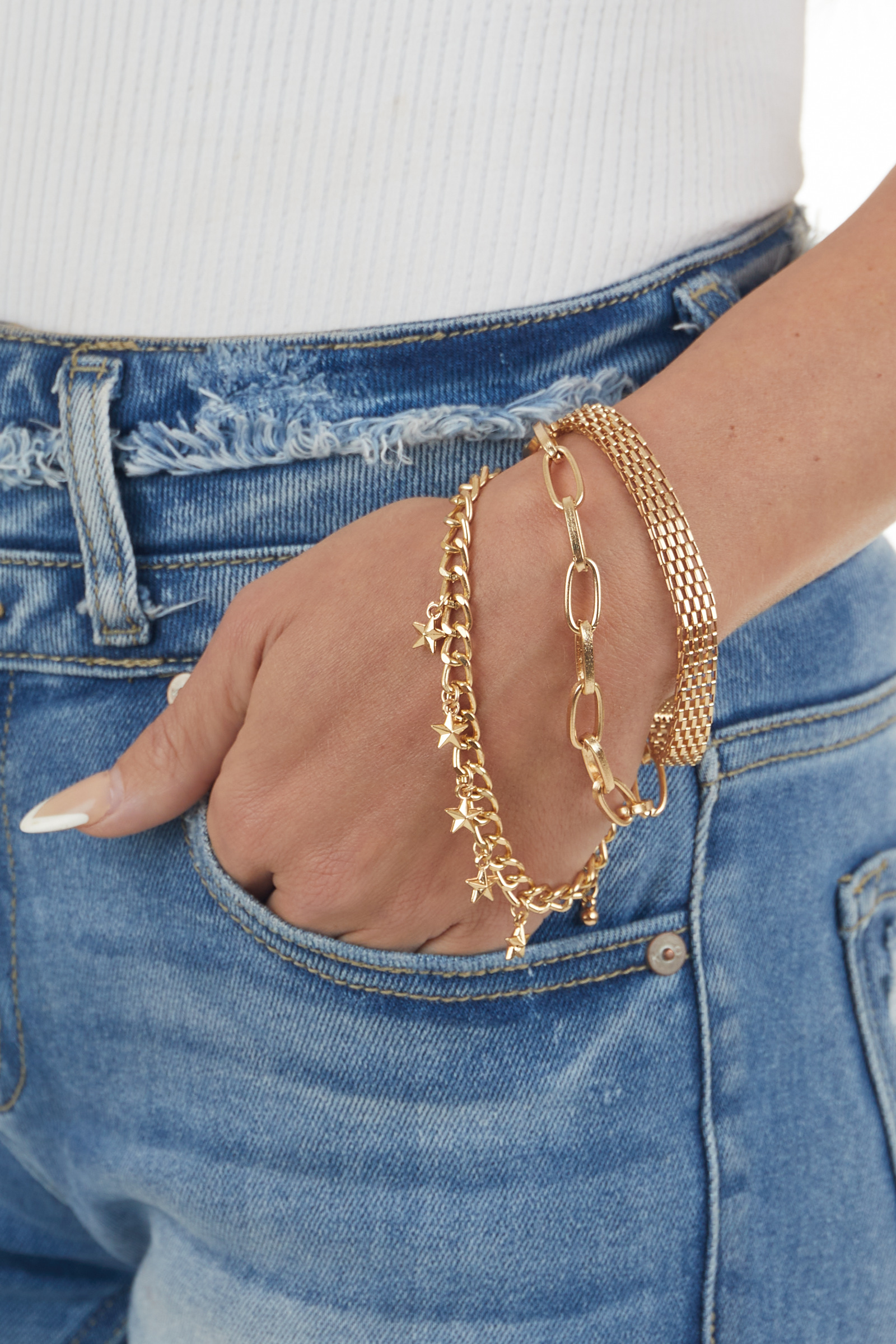 Gold Multi Chain Bracelet with Star Charms