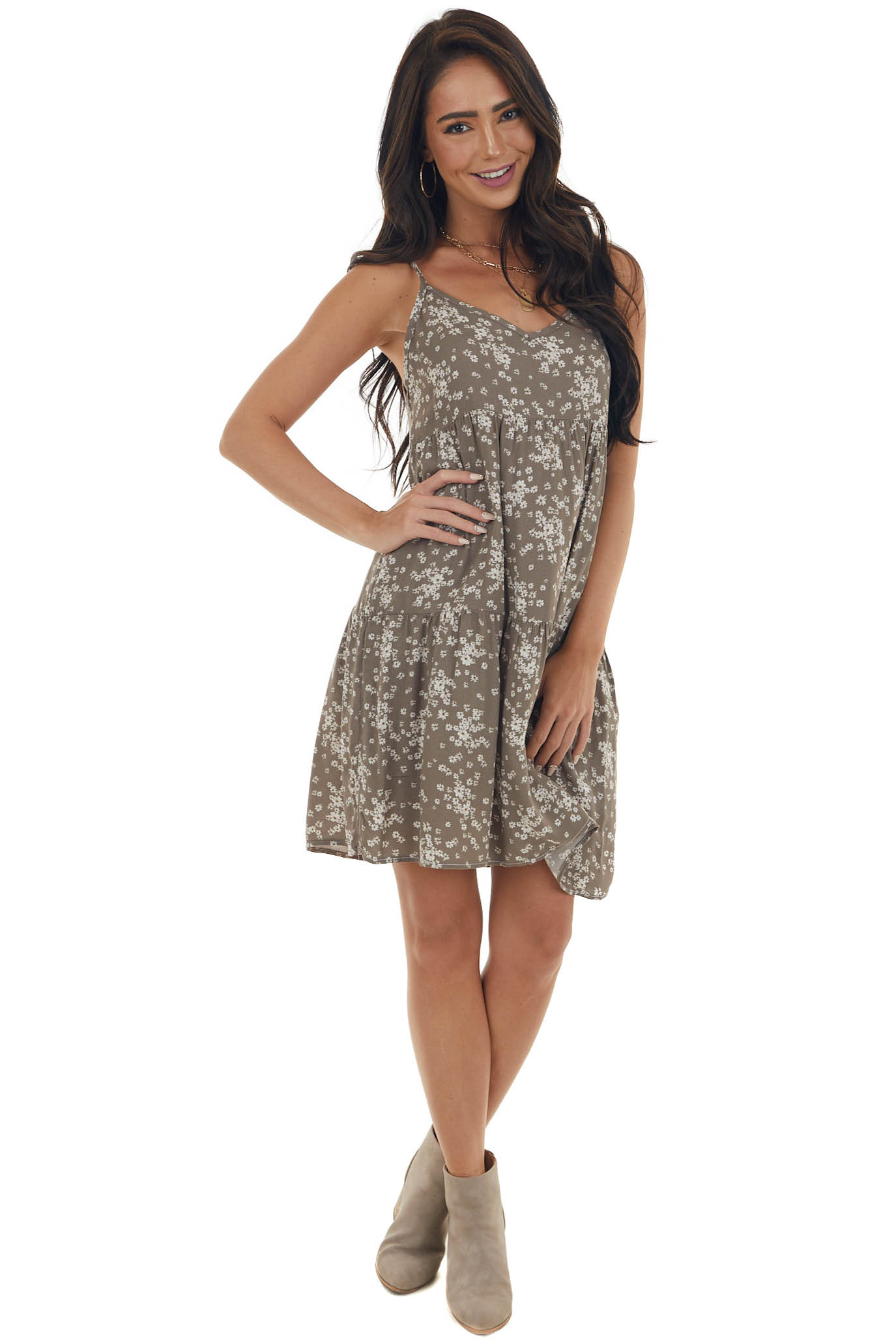 Taupe Ditsy Floral Tiered Babydoll Mini Dress