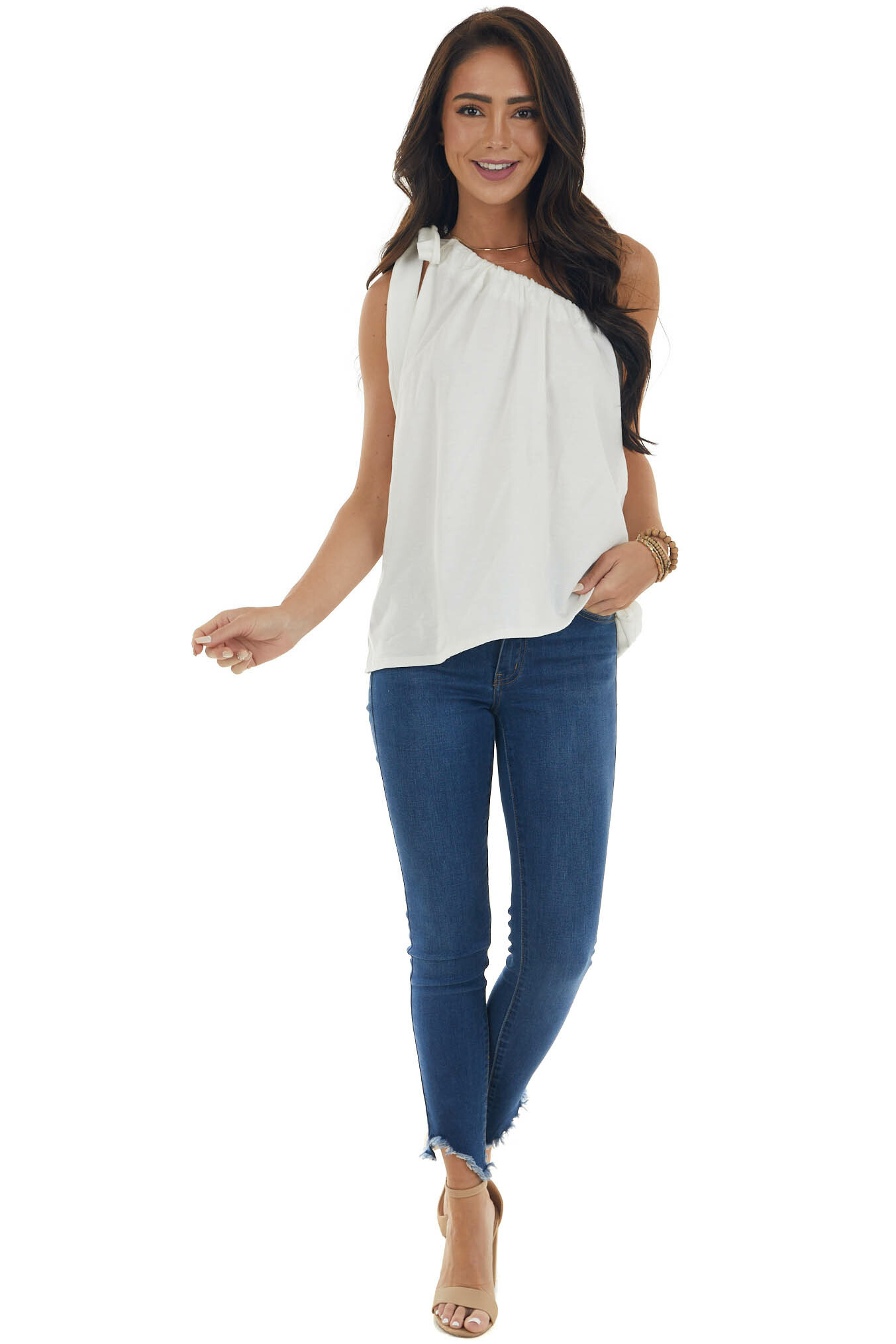 Ivory One Shoulder Top with Self Tie Strap
