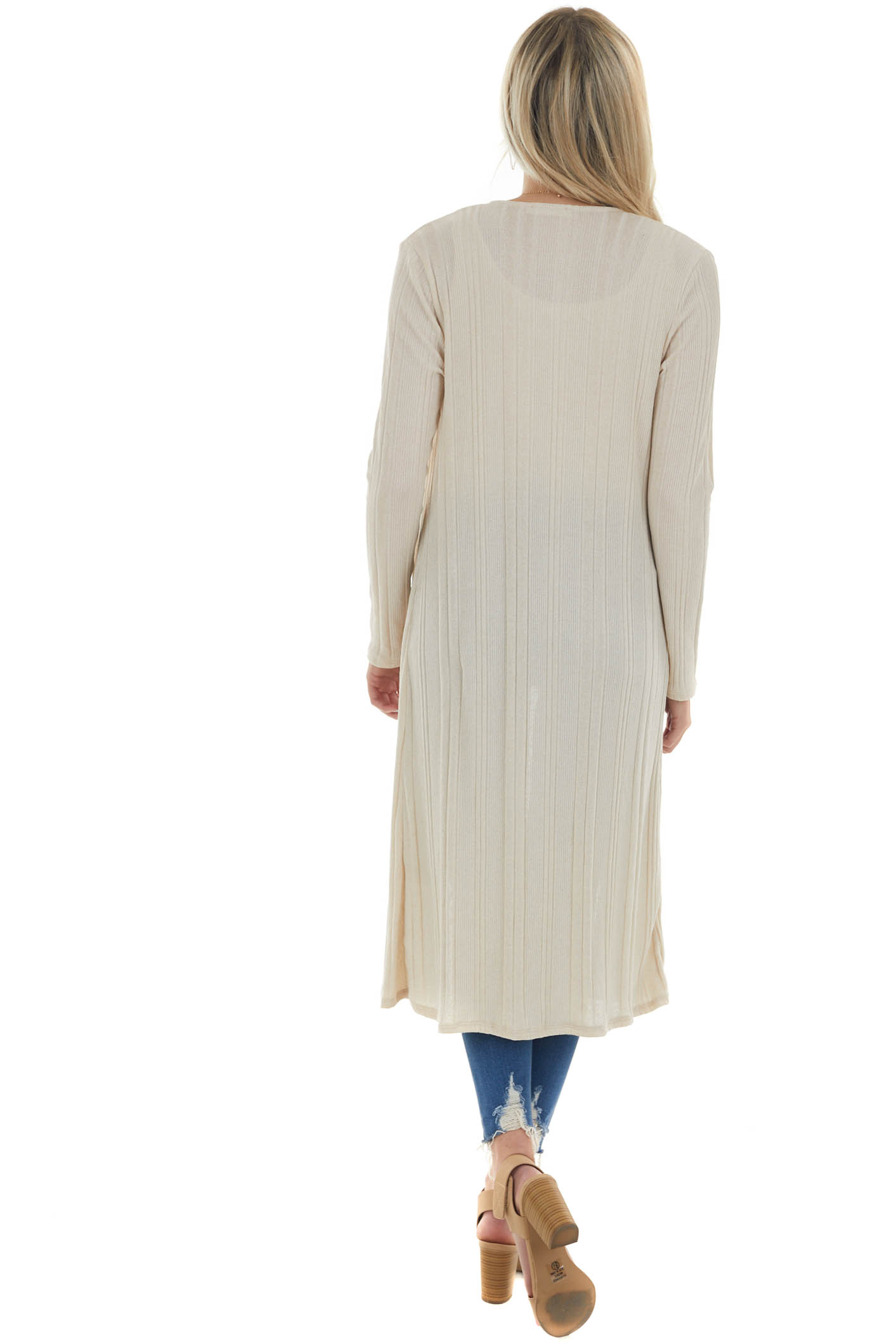Cream Ribbed Tank Top and Duster Cardigan Set