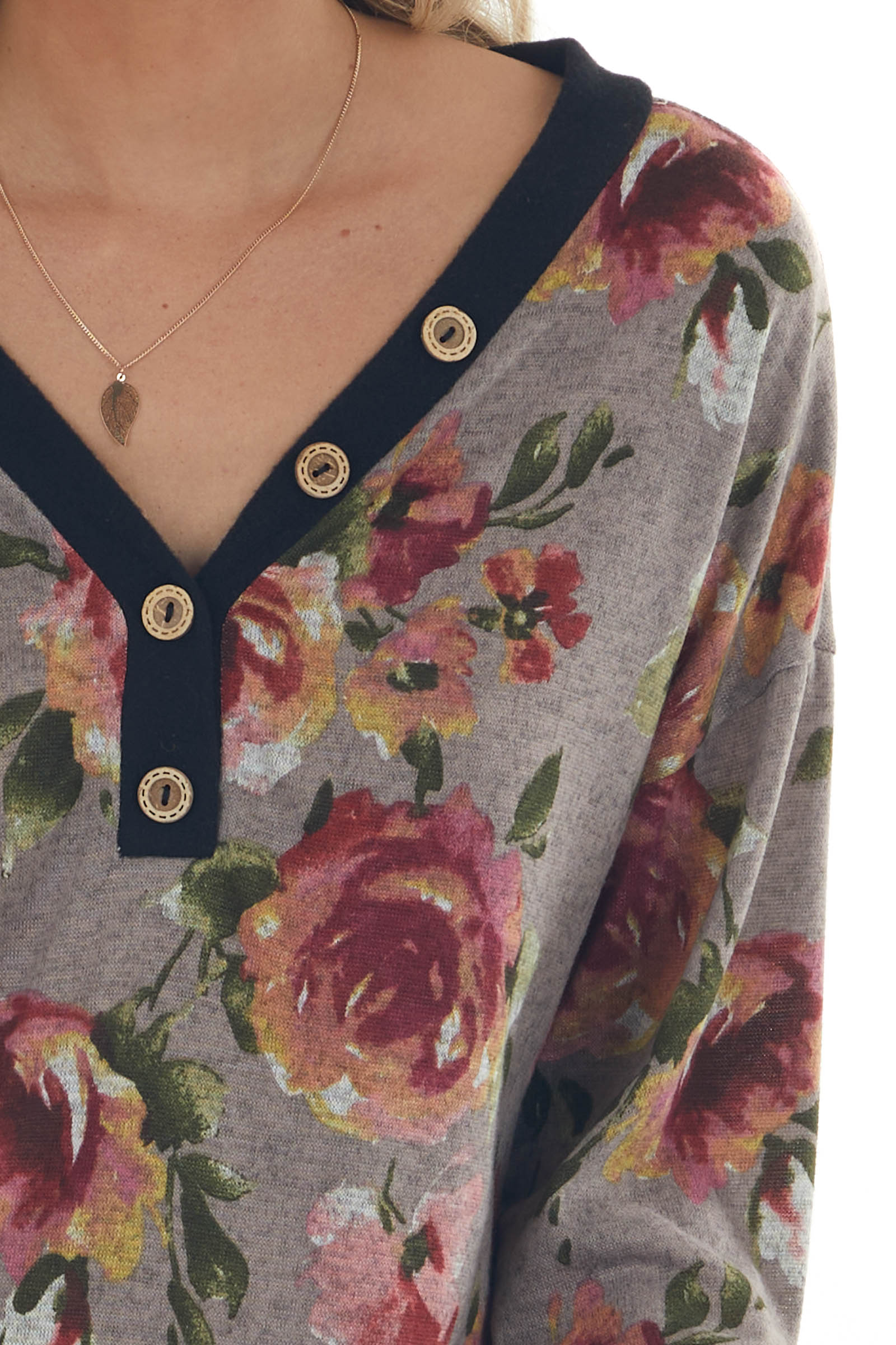 Taupe Floral Print Long Sleeve V Neck Knit Top