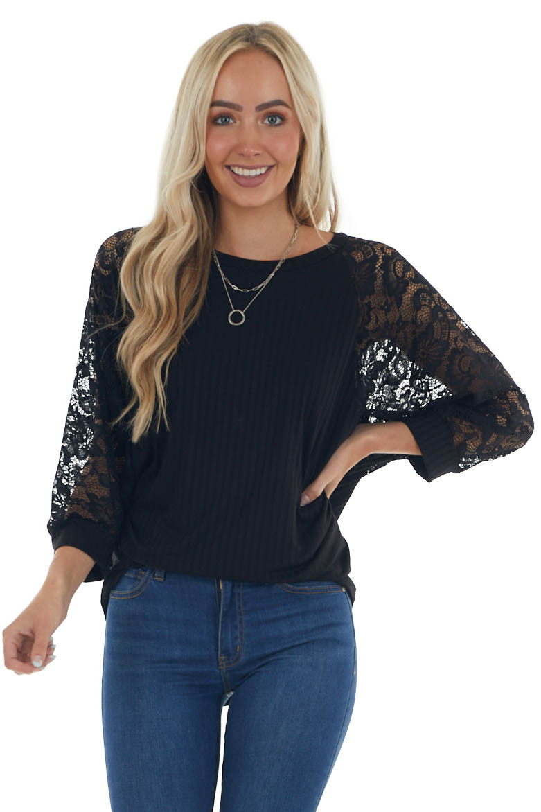 Black Ribbed Dolman 3/4 Lace Sleeve Knit Top