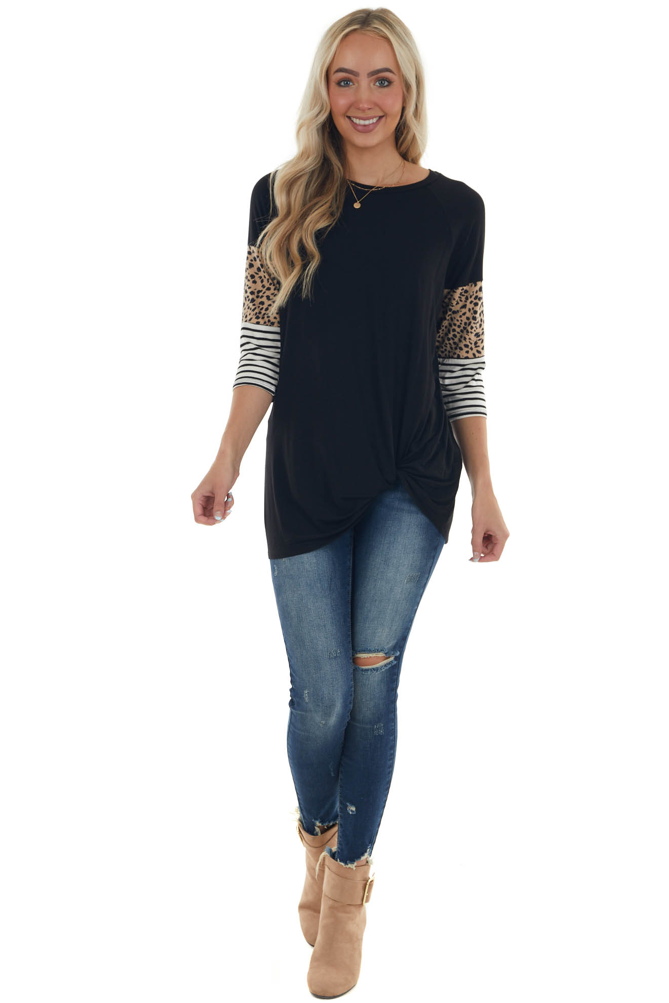 Black Multi Print Knit Top with 3/4 Sleeves