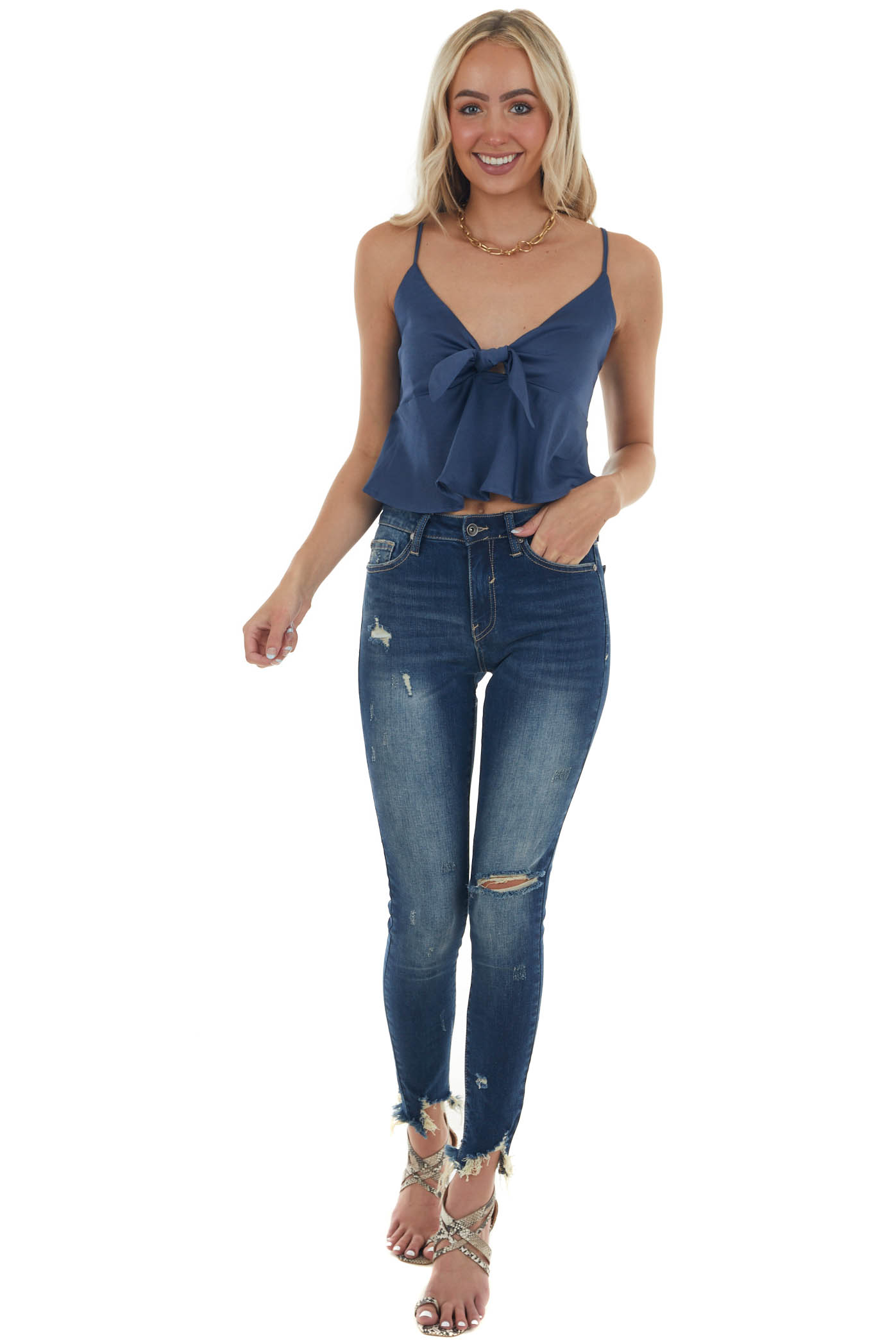 Navy Sleeveless Front Tie Cropped Camisole
