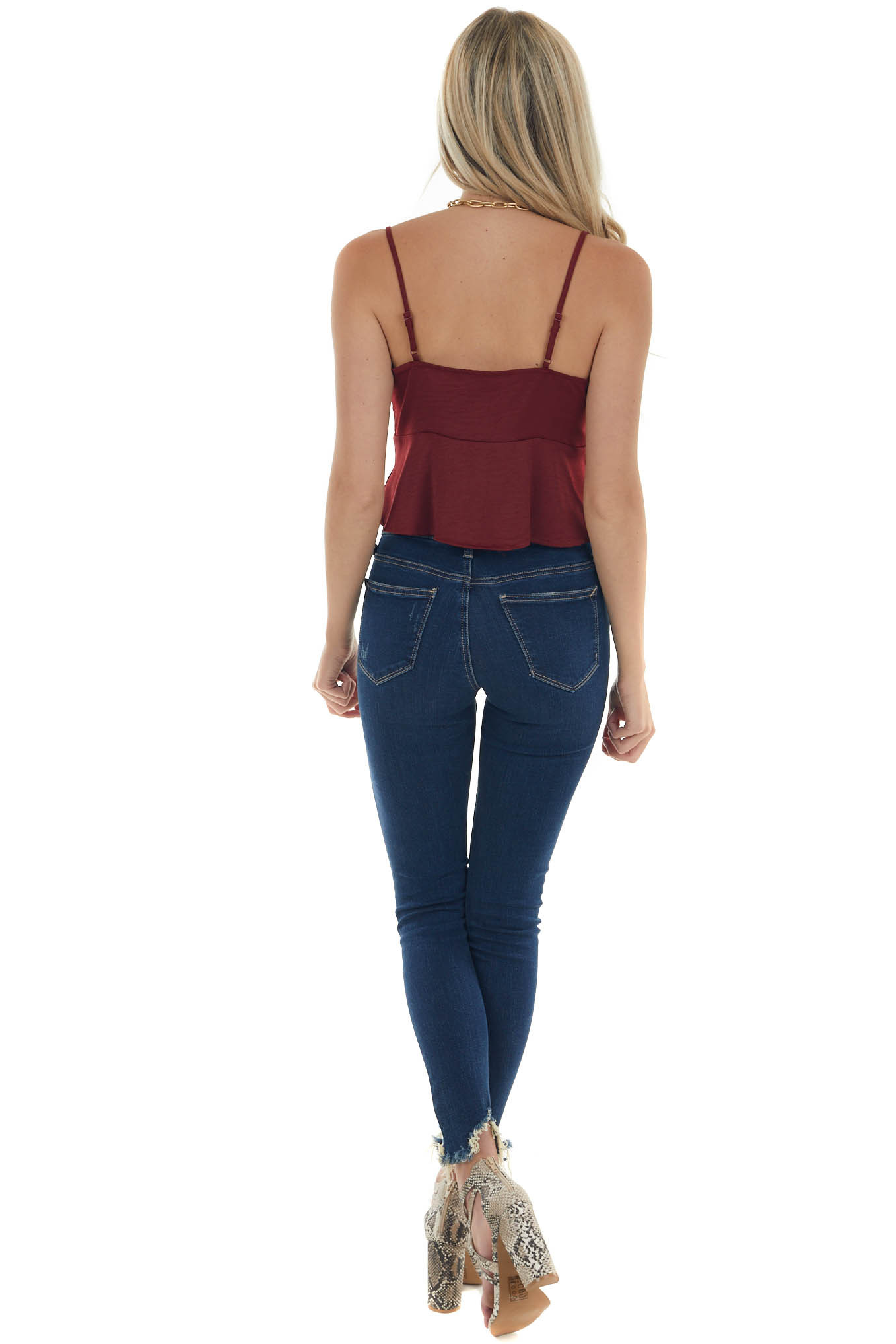 Maroon Sleeveless Front Tie Cropped Camisole