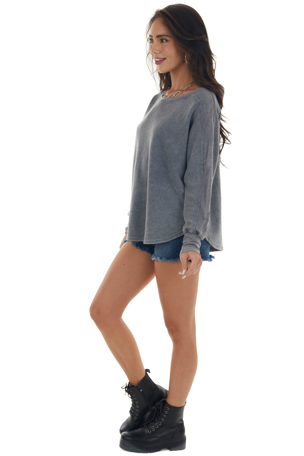 Stormy Grey Mineral Wash Thermal Knit Top