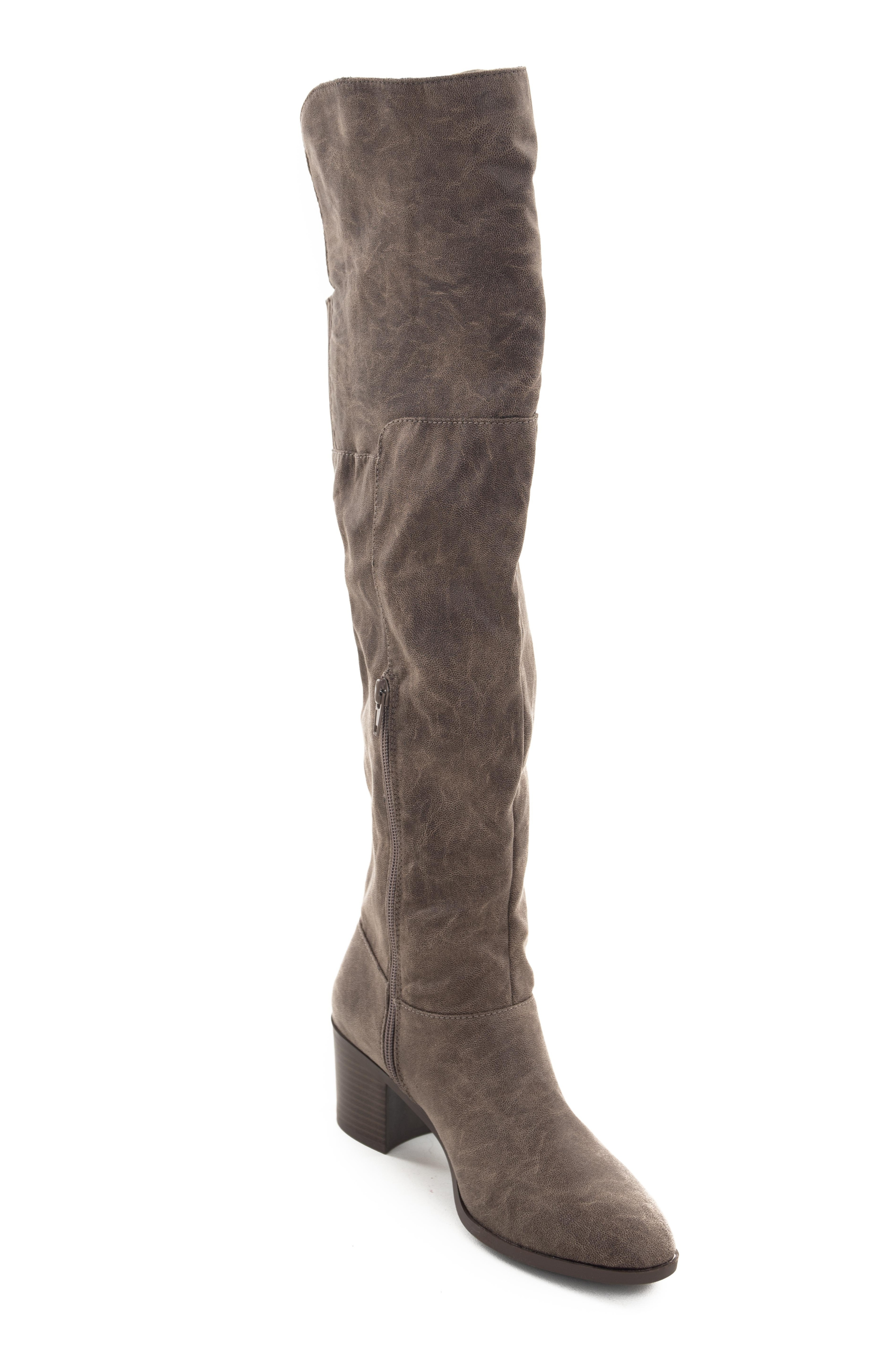 Taupe Textured Faux Leather Stacked Heel Boots