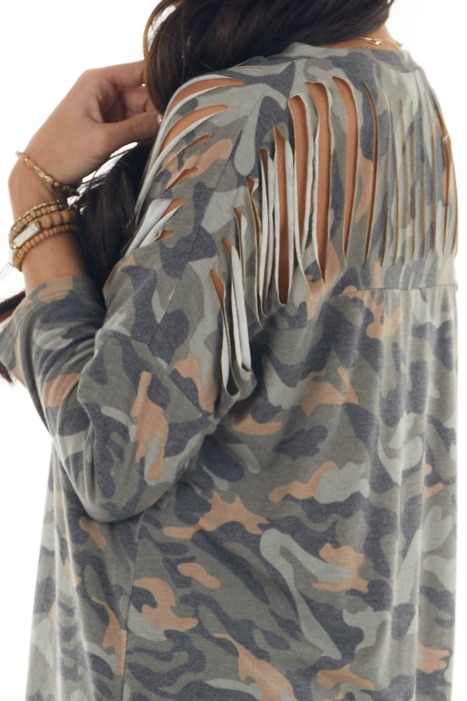 Olive Camo Stretchy Ladder Cut 3/4 Sleeve Top