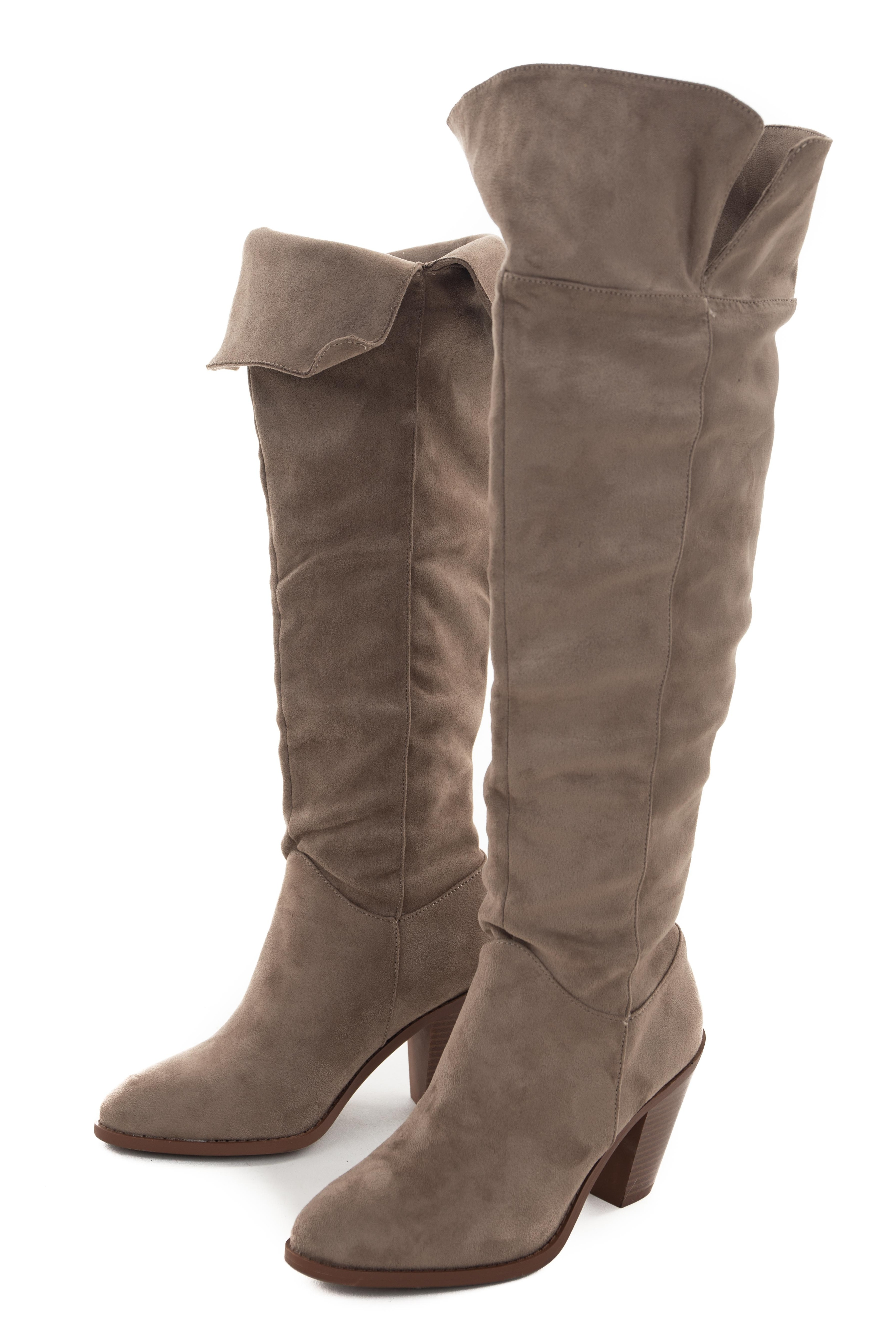 Oatmeal Faux Suede Folded Slouchy Heeled Boots