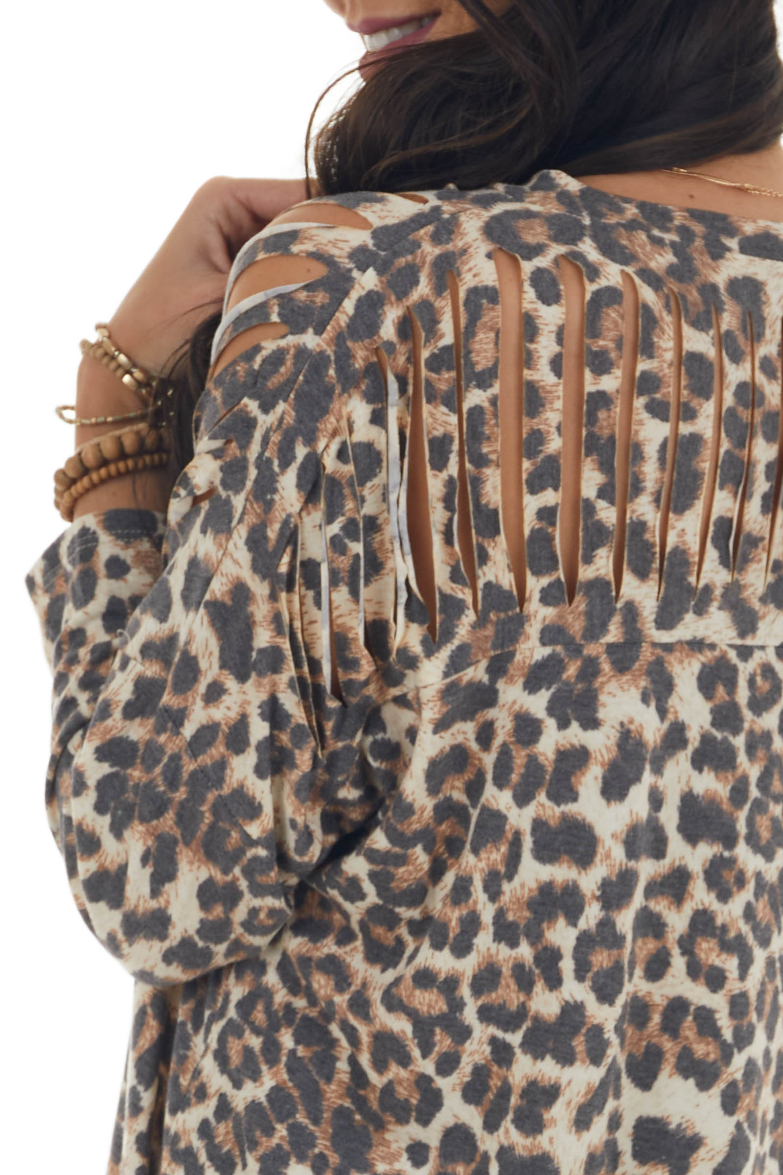 Taupe Leopard Print Ladder Cut 3/4 Sleeve Top