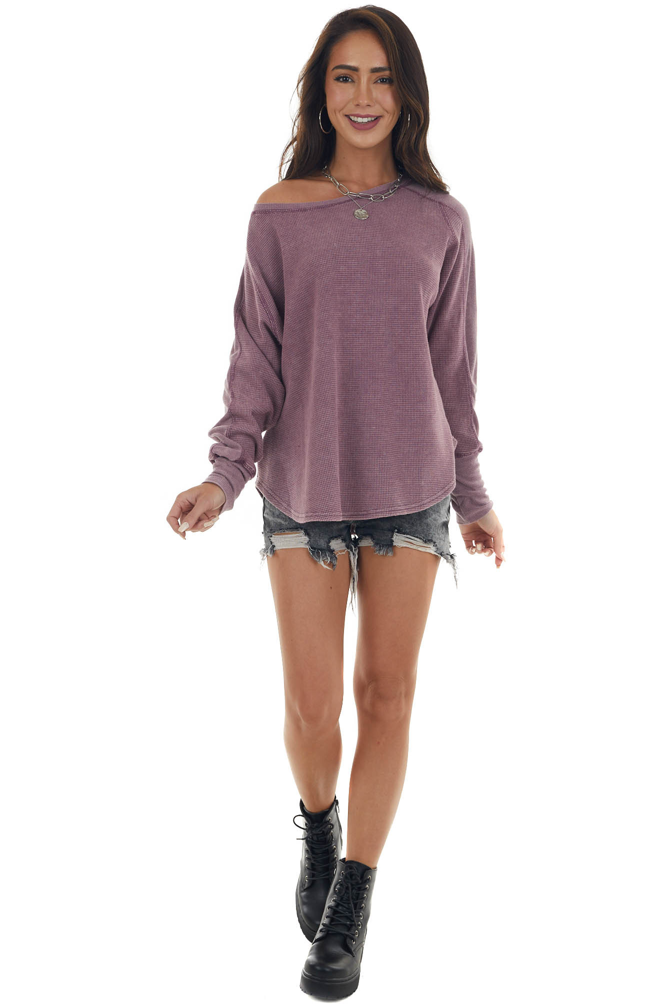Mauve Mineral Wash Thermal Knit Top
