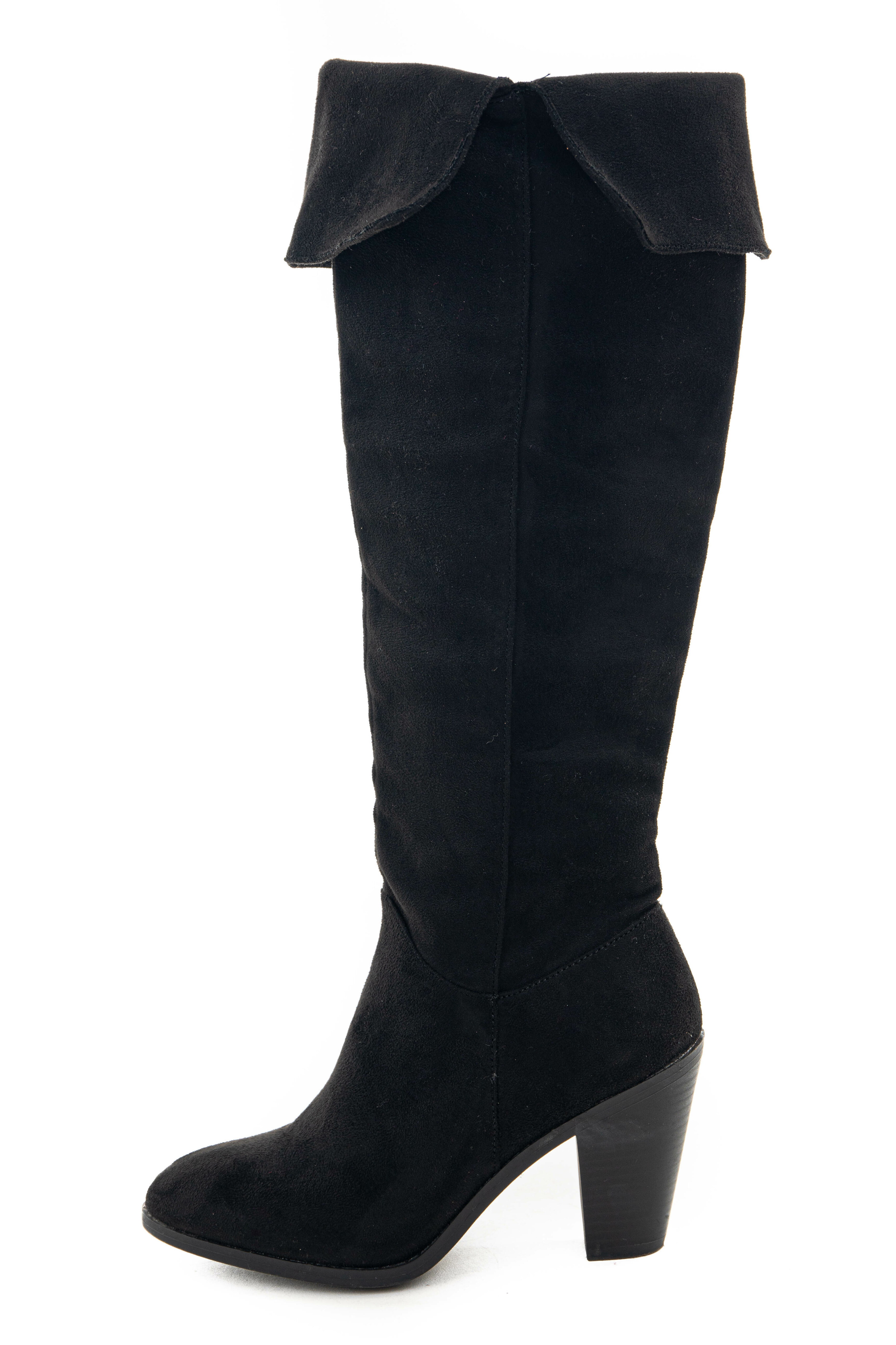 Black Faux Suede Folded Slouchy Heeled Boots