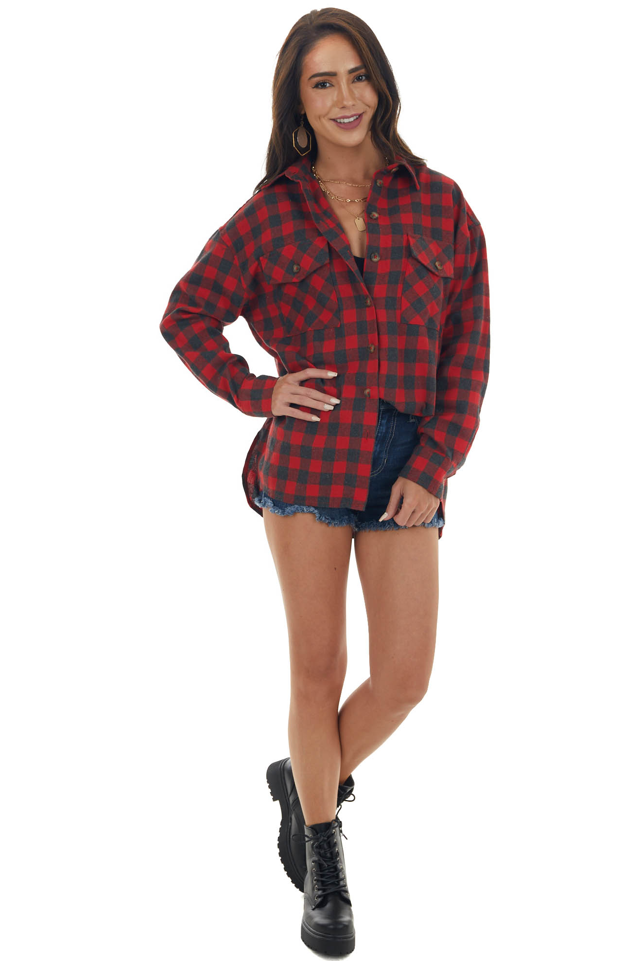 Candy Apple Red Plaid Button Up Top