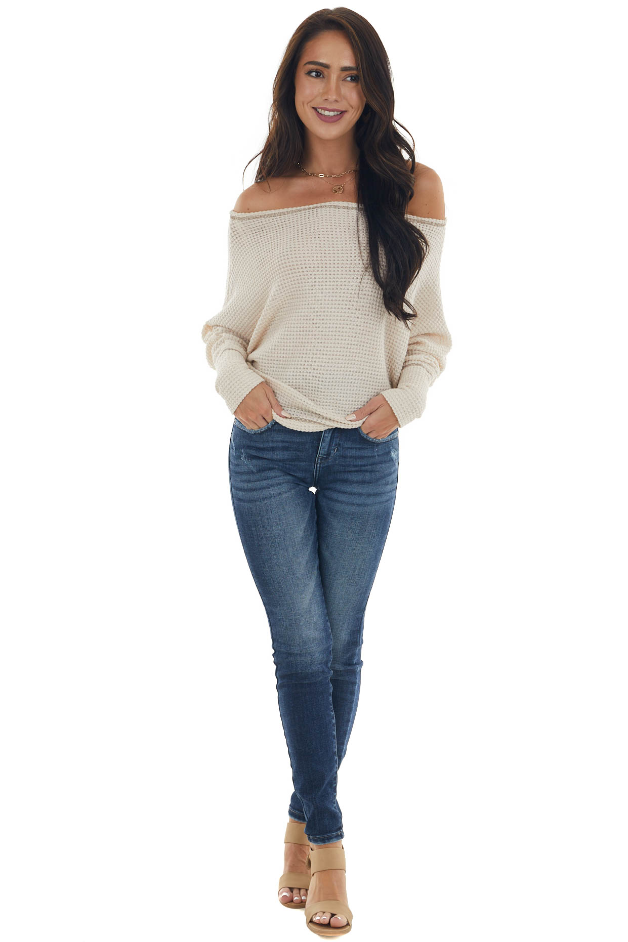Vanilla Off Shoulder Top with Outseam Details