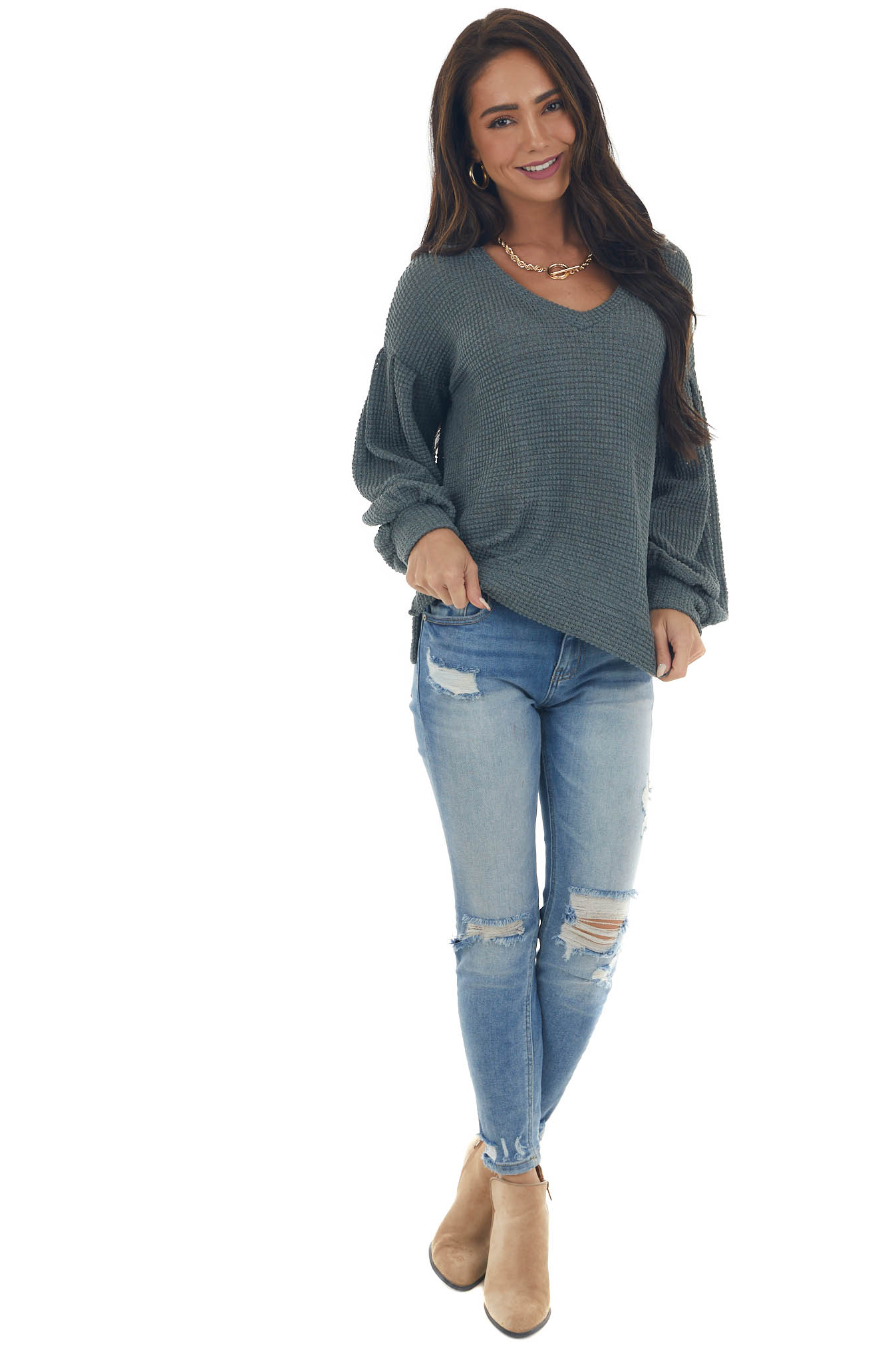 Stone Grey Long Bubble Sleeve Thermal Knit Top