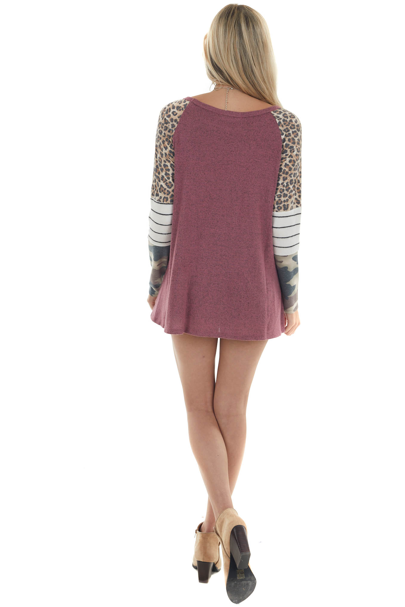 Berry Soft Knit Top with Colorblock Sleeves