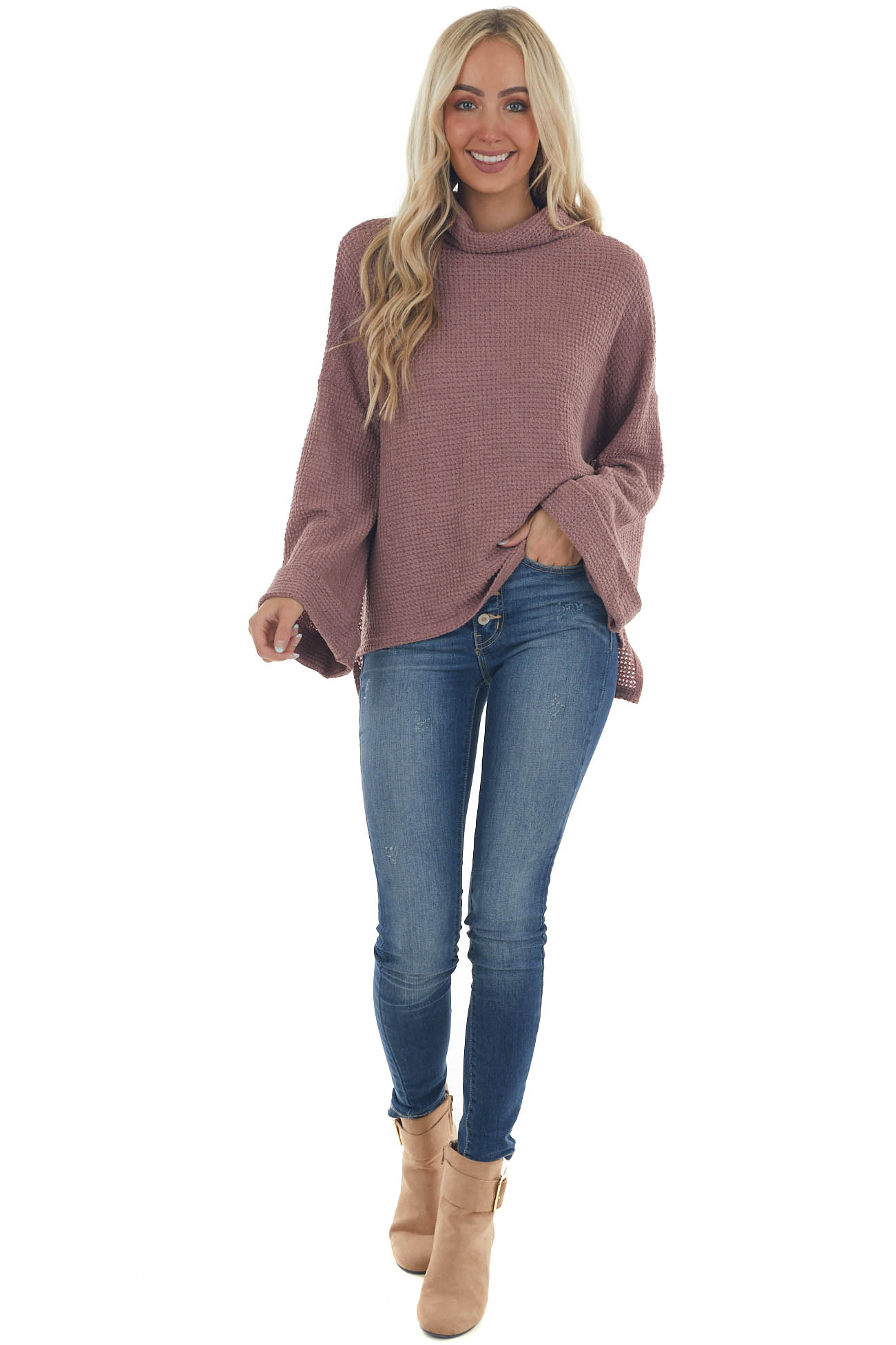 Dusty Rose Cowl Neck Waffle Knit Top