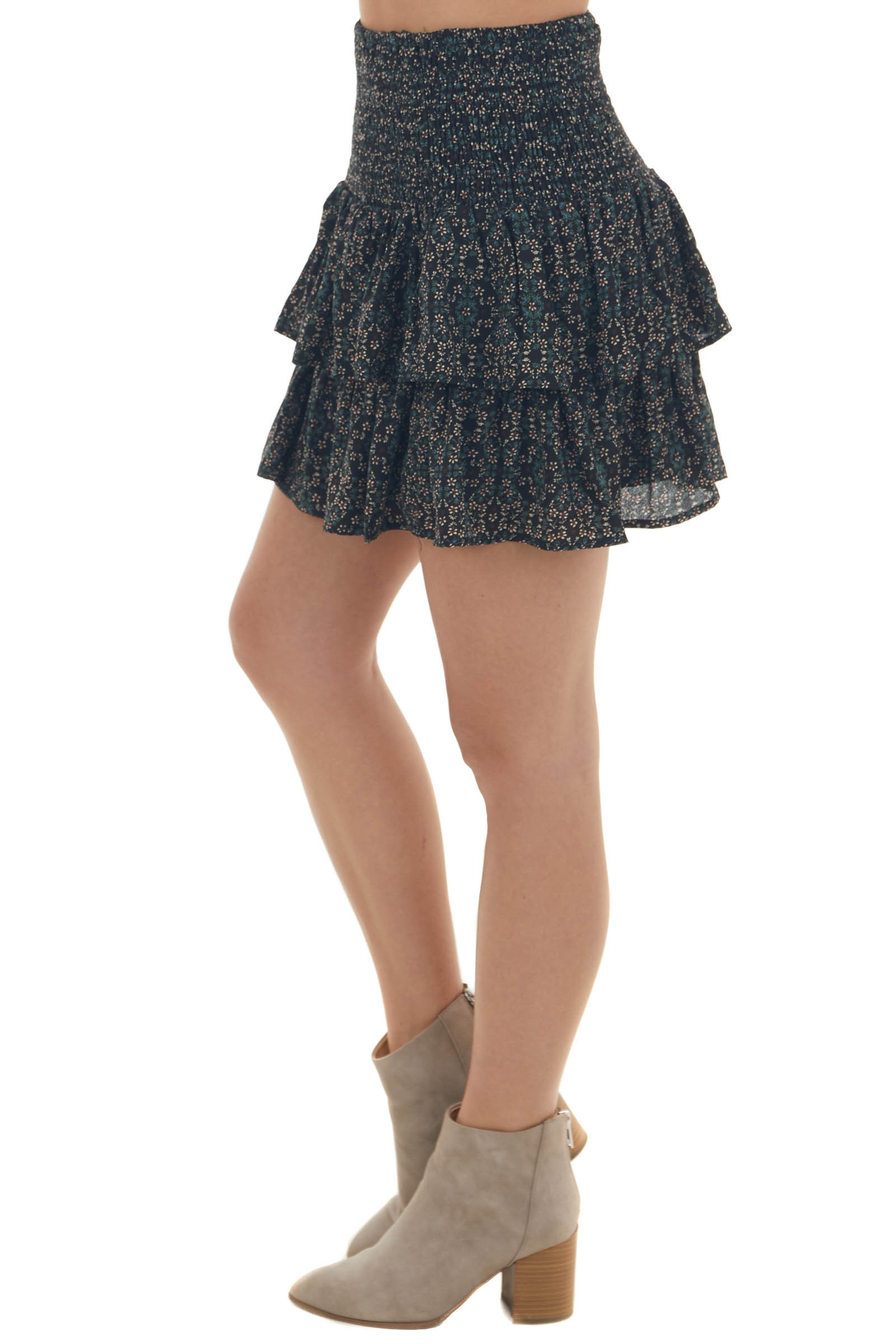 Black Ditsy Floral Smocked Tiered Mini Skirt