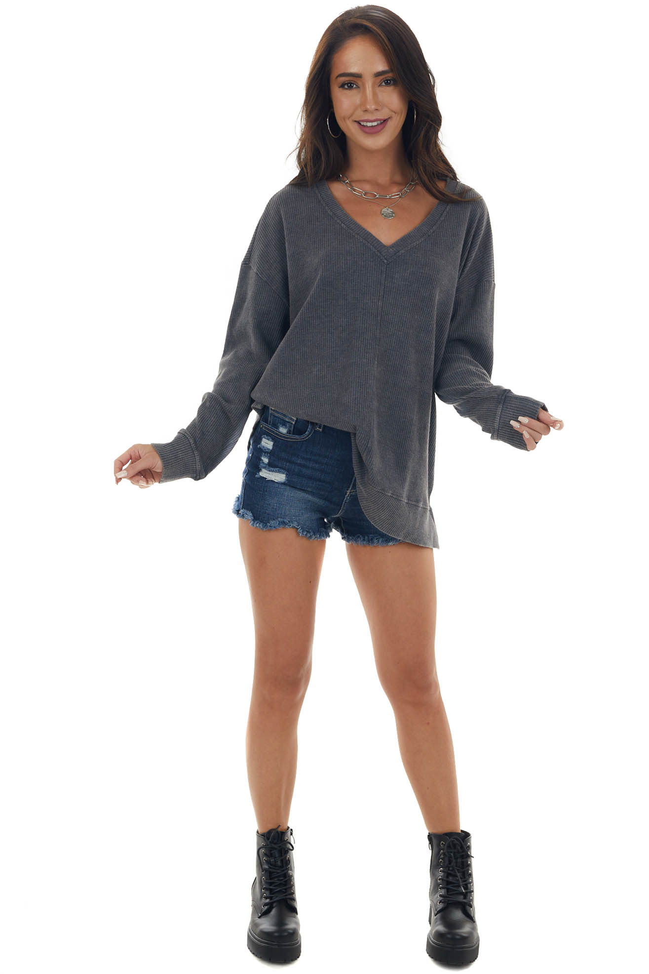 Charcoal Mineral Washed Knit Tunic Top