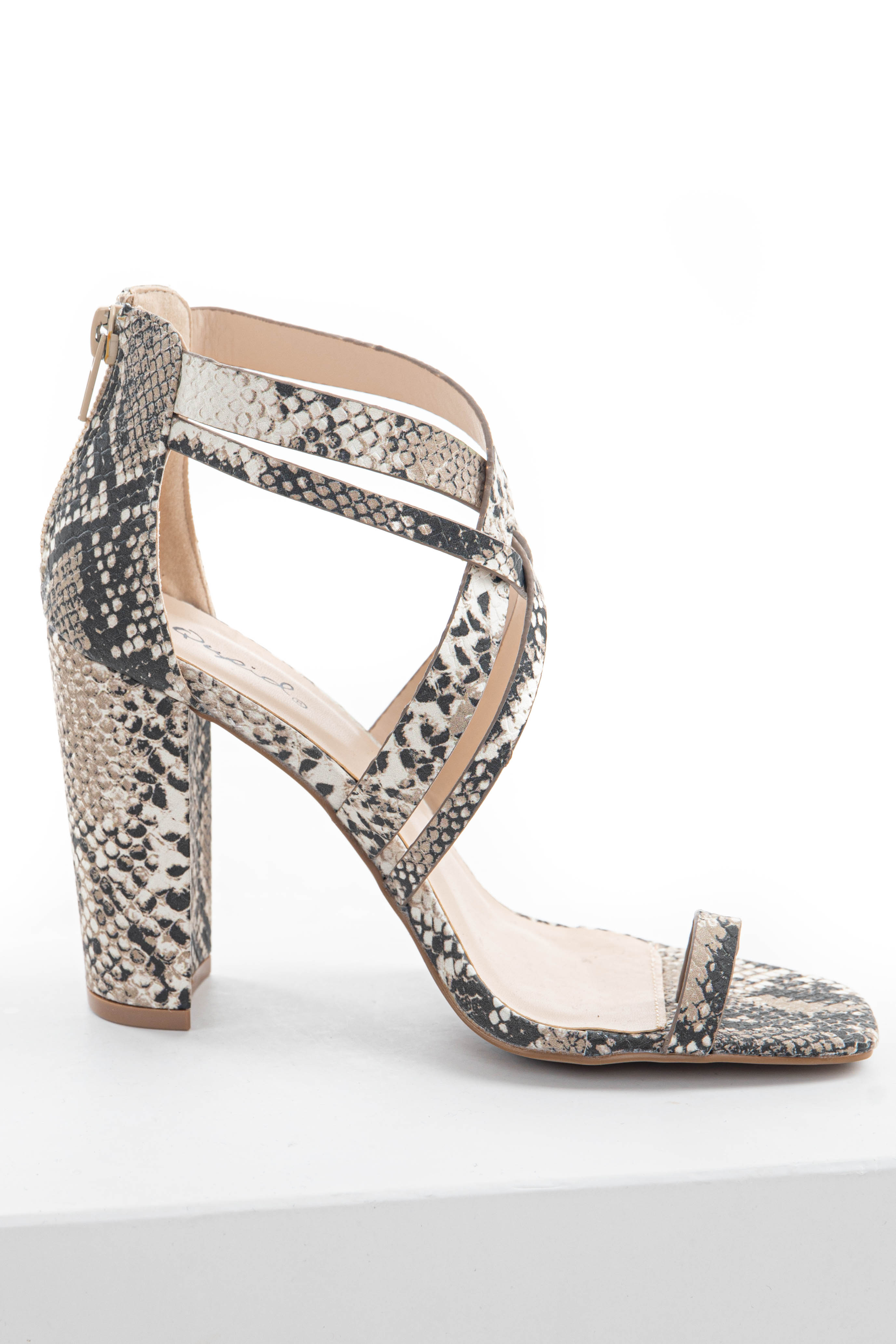 Latte Snake Print Strappy Heels with Toe StrapLatte Snake Print Strappy Heels with Toe Strap
