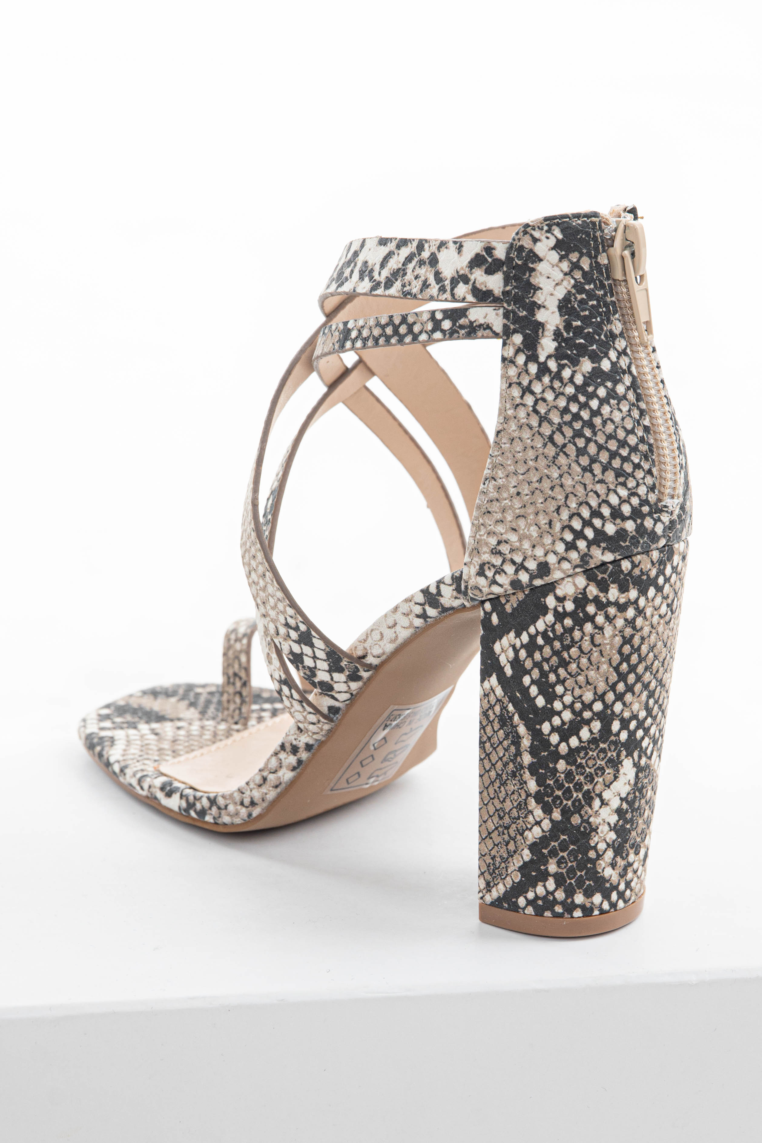 Latte Snake Print Strappy Heels with Toe Strap