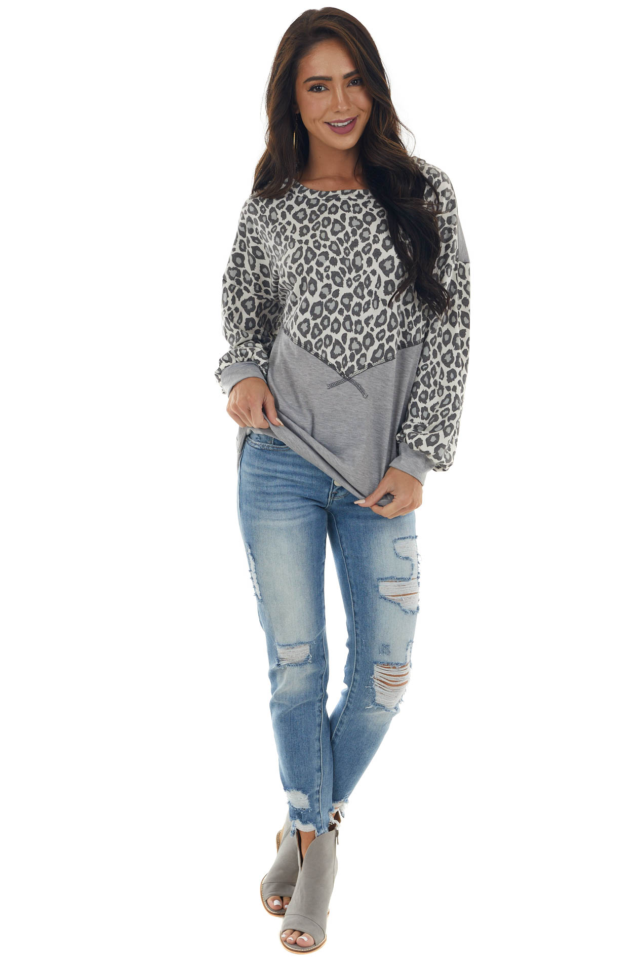 Dove Grey and Leopard Print Colorblock Top