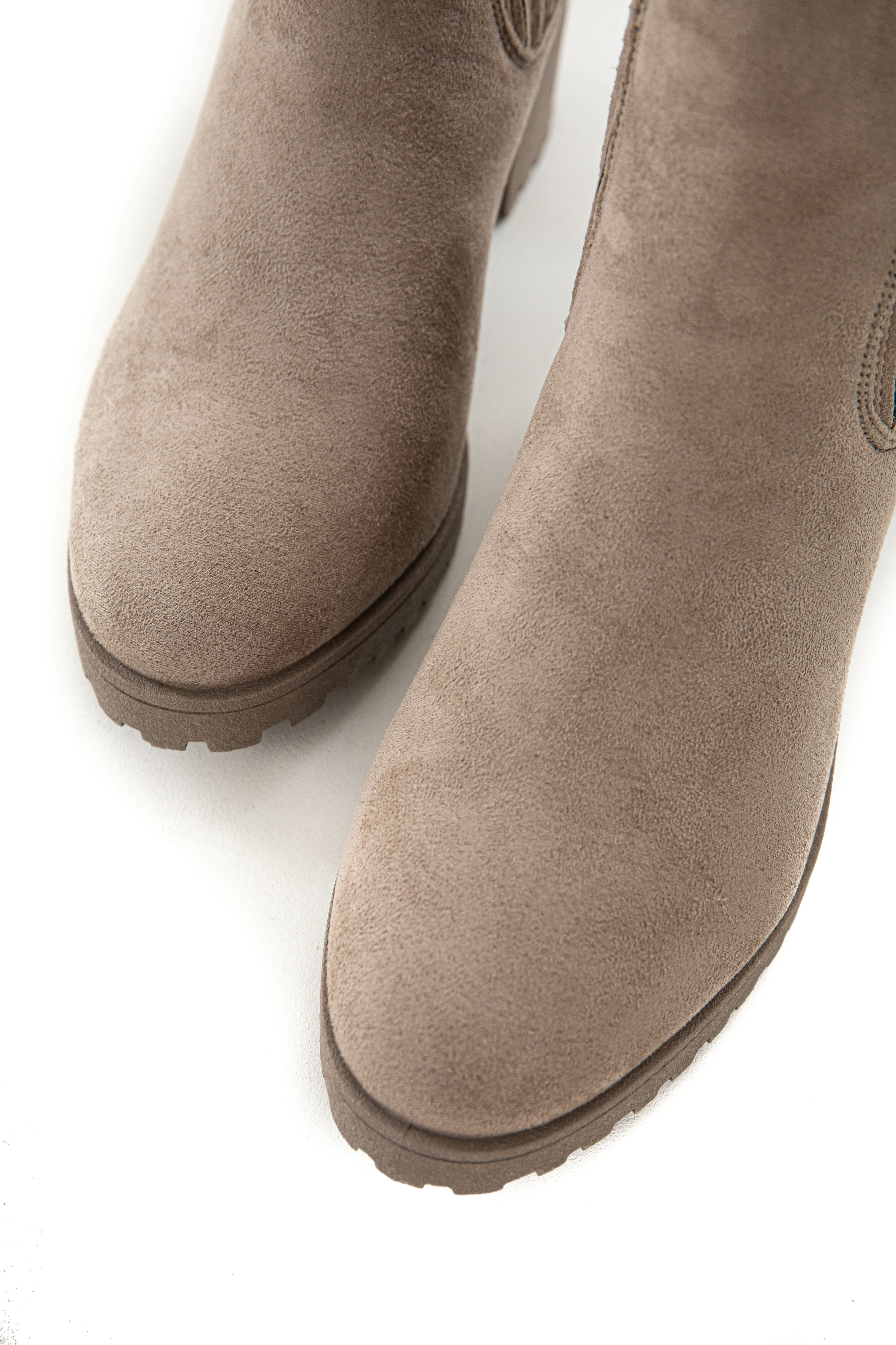 Taupe Suede Side Panel Chunky Treaded Bootie