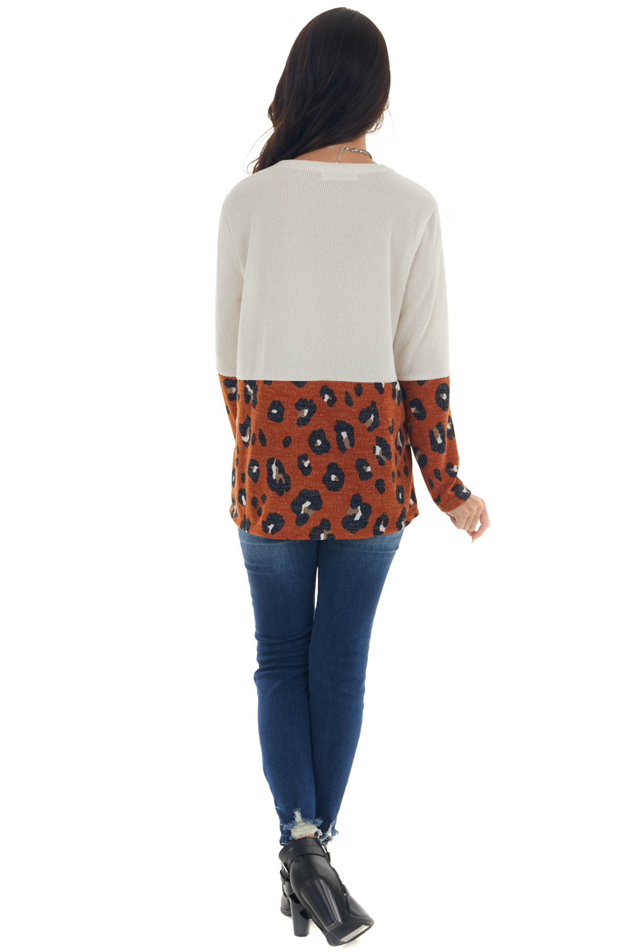Cream and Tawny Leopard Print Long Sleeve Top