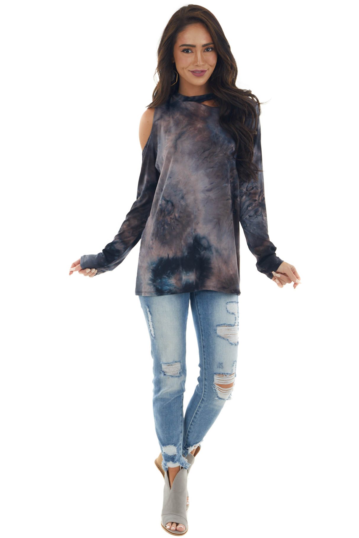 Navy and Dusty Blush Tie Dye Cold Shoulder Top