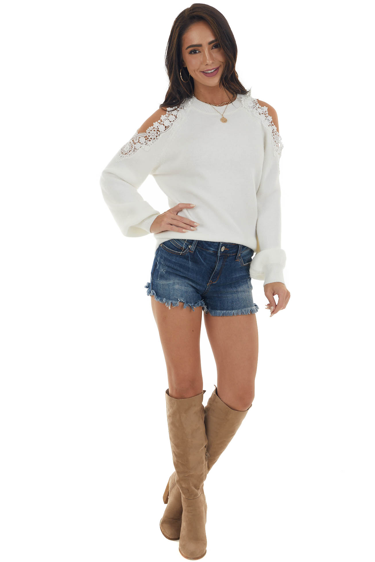 Ivory Cold Shoulder Sweater with Floral Lace