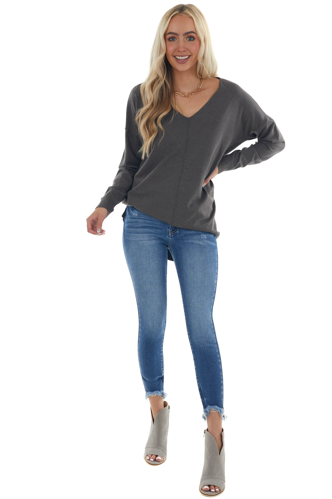 Charcoal Stretchy Long Sleeve V Neck Sweater