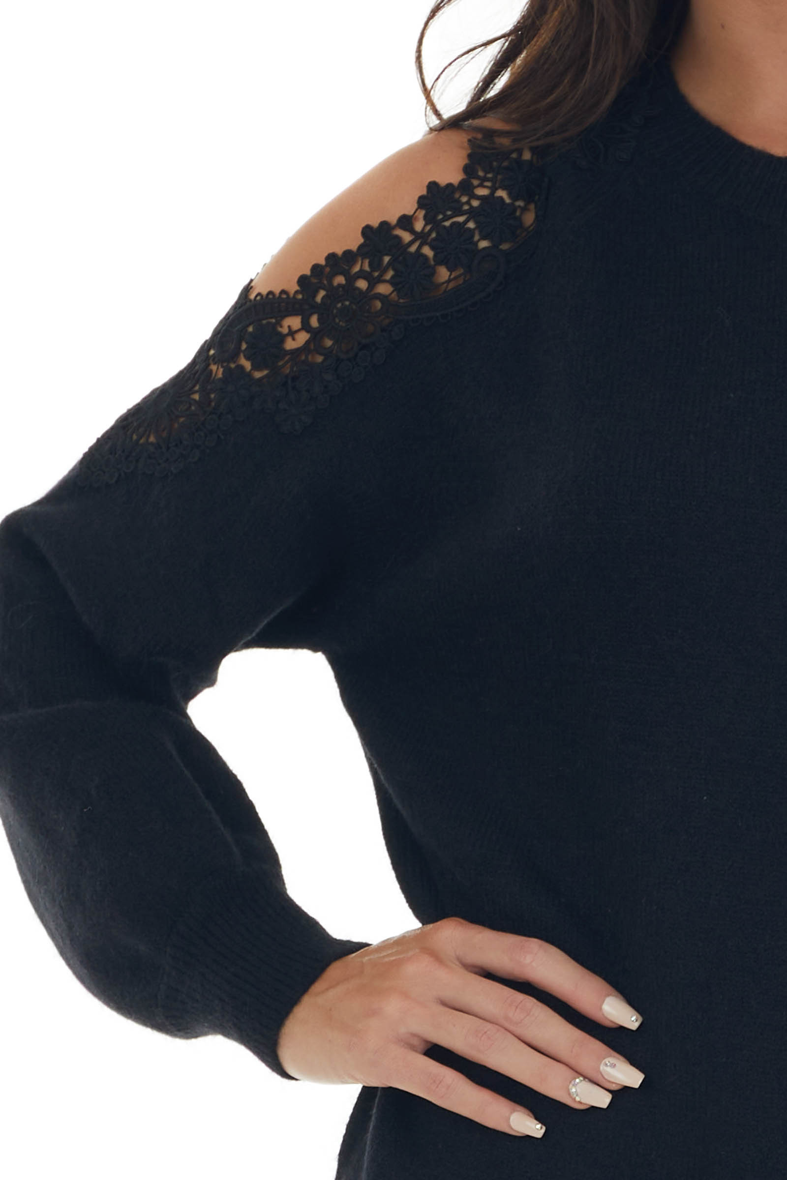 Black Cold Shoulder Sweater with Floral Lace