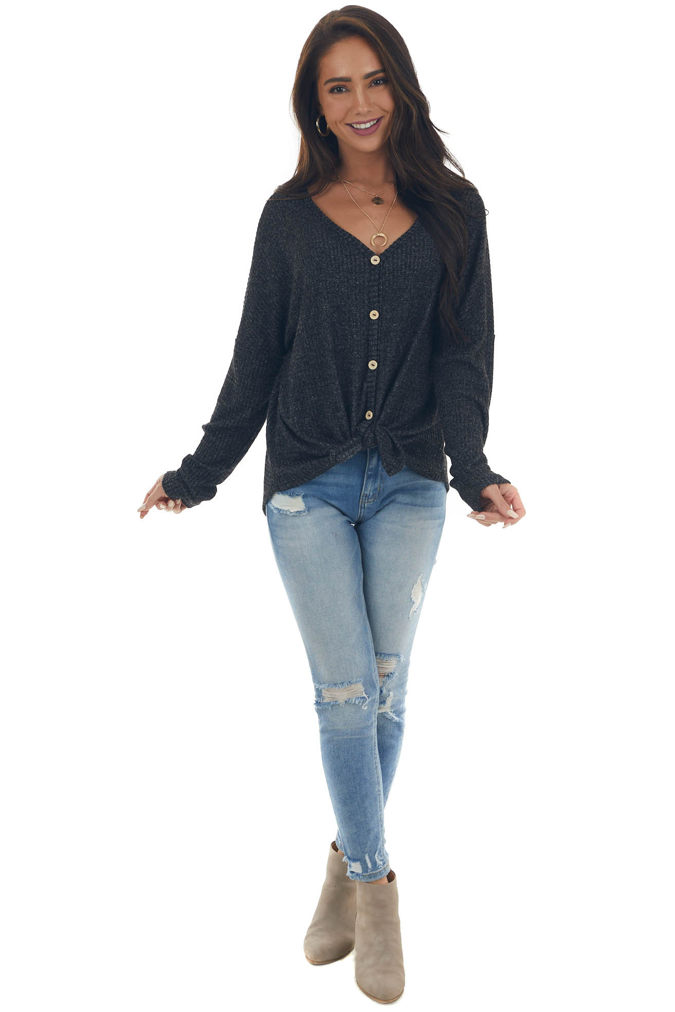 Heathered Black Long Sleeve V Neck Button Top