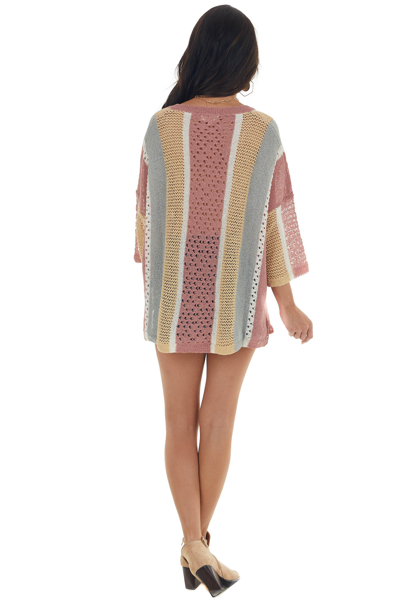 Multicolor Striped Loose Knit Oversized Top