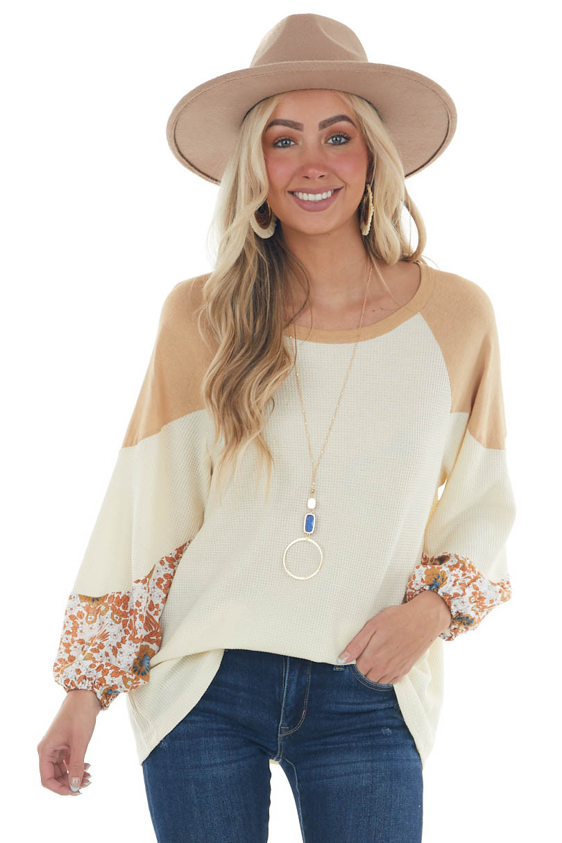Cream Colorblock Puff Sleeve Waffle Knit Top