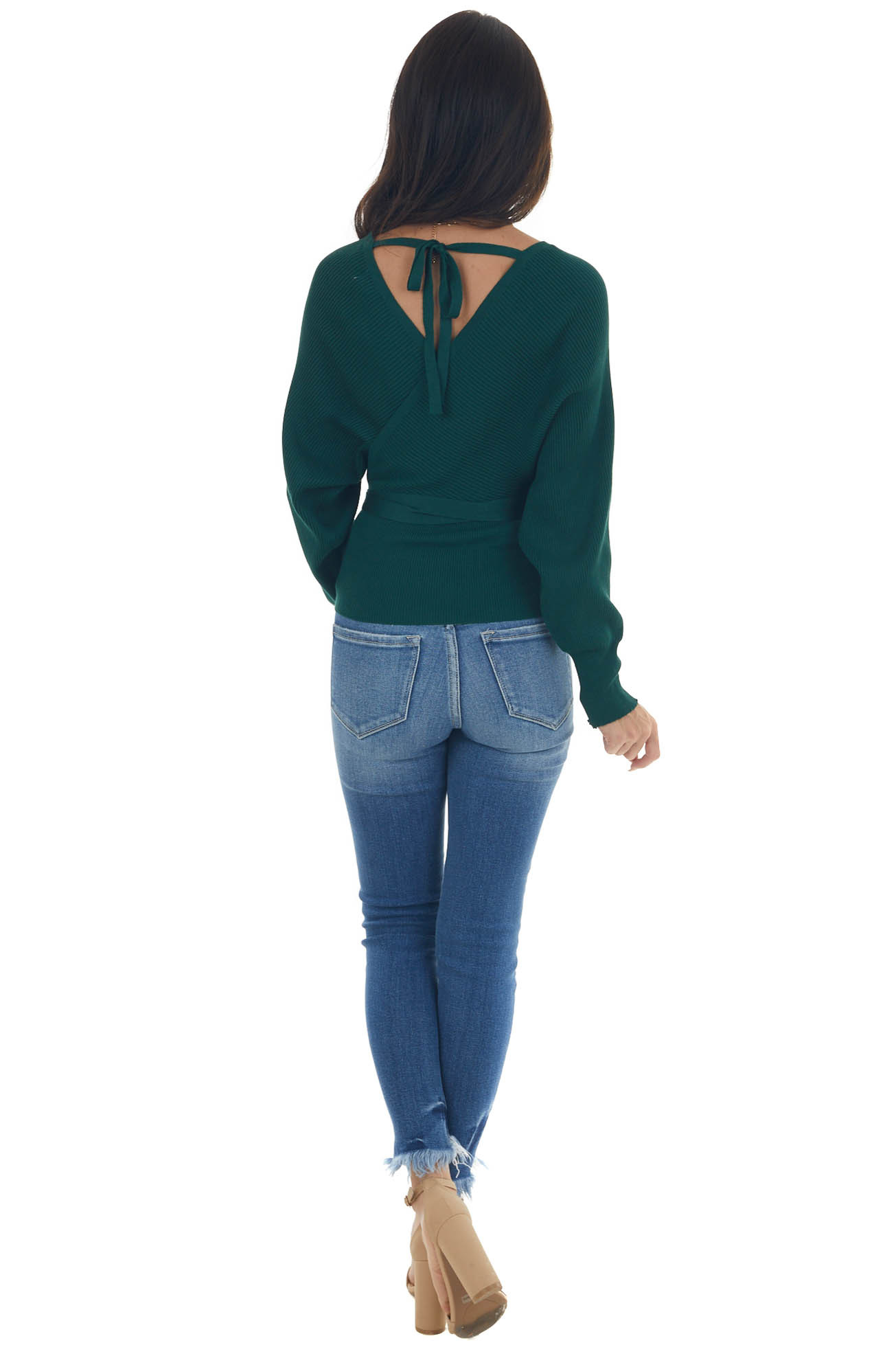 Hunter Green Surplice Sweater with Tie Detail