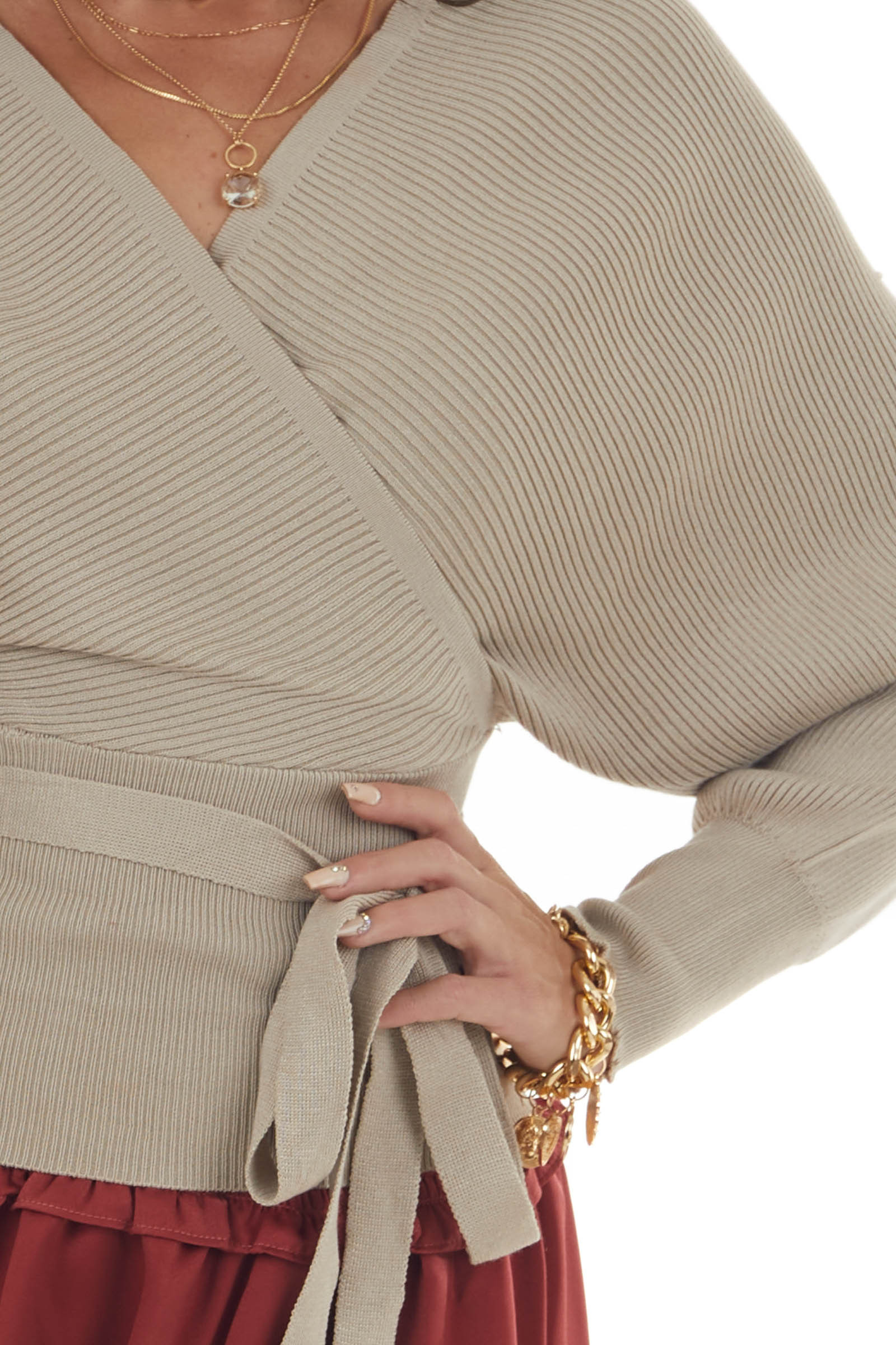 Oatmeal Surplice Sweater with Tie Details