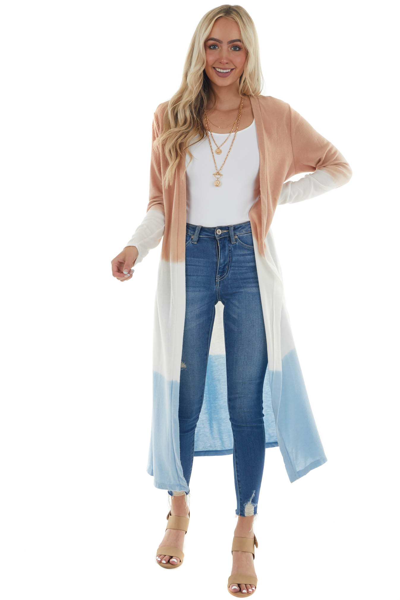 Peach Ombre Dip Dye Soft Knit Duster Cardigan
