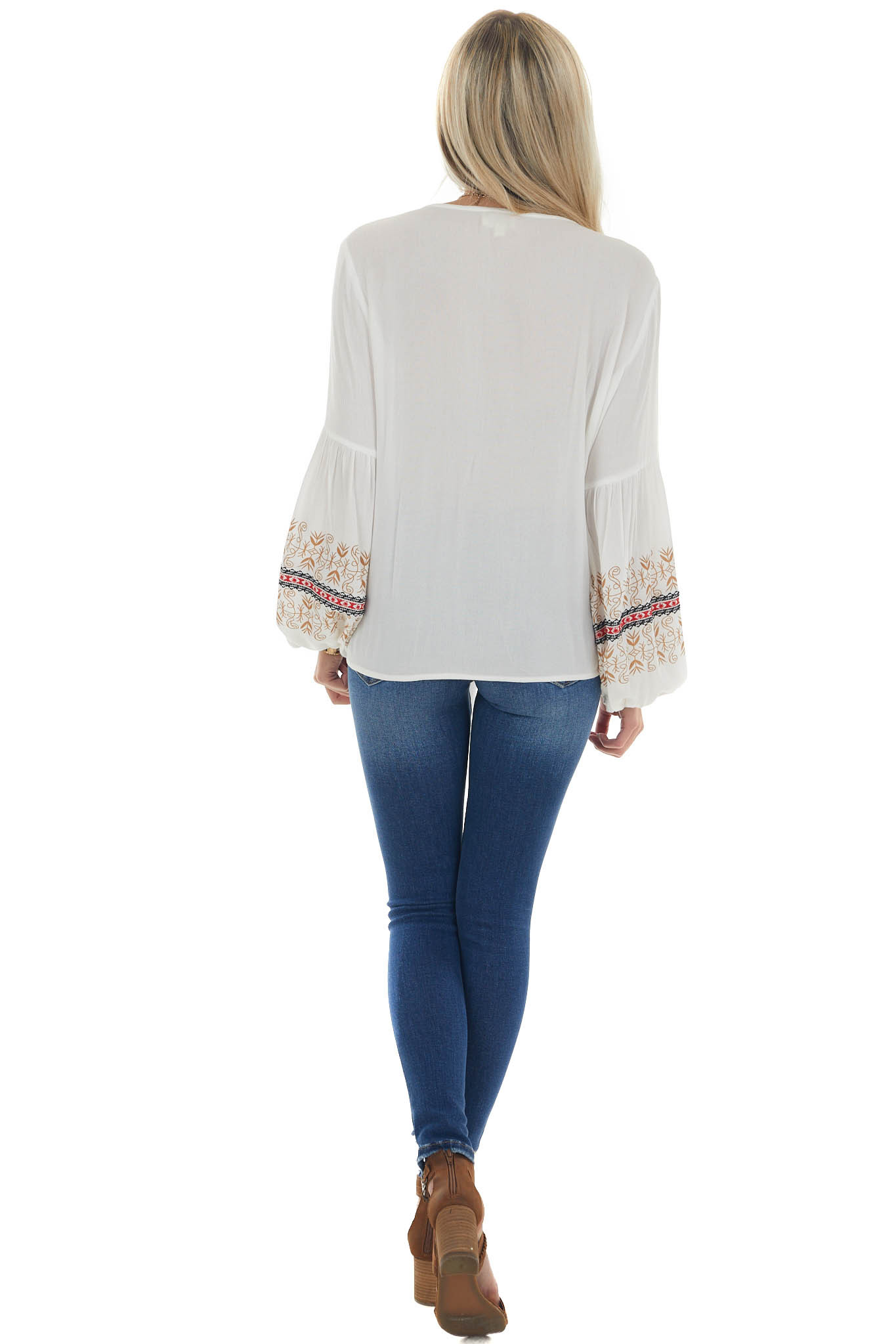 Ivory Printed Sleeve Detail Top with Front Tie