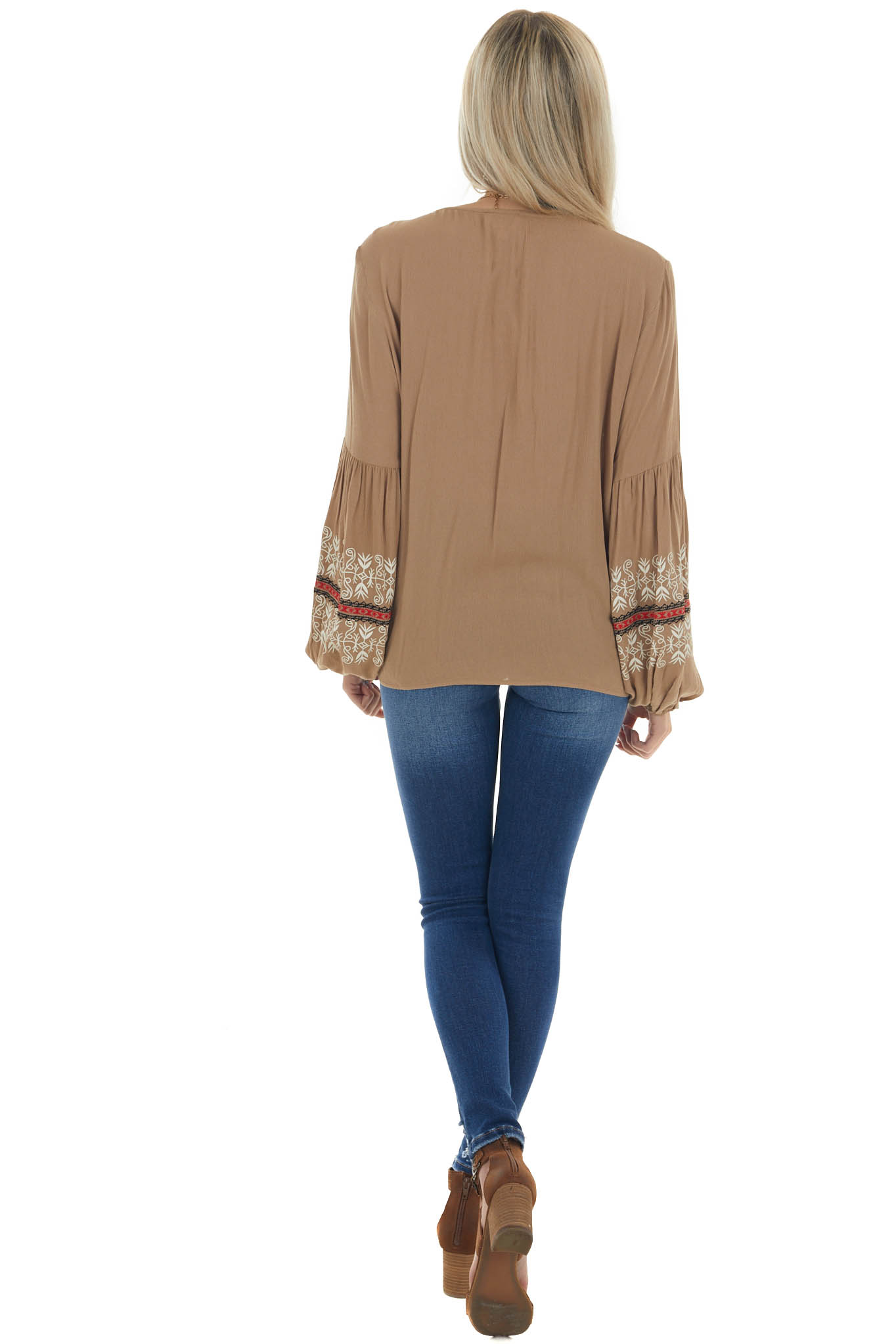 Peanut Printed Sleeve Top with Front Tie