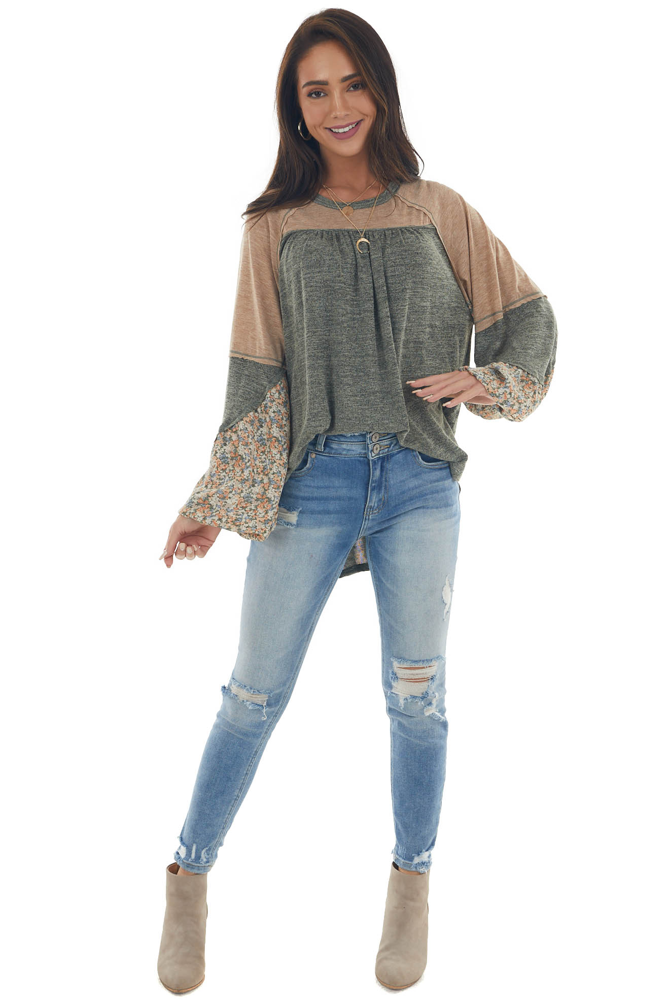 Heathered Olive Colorblock Bubble Sleeve Top