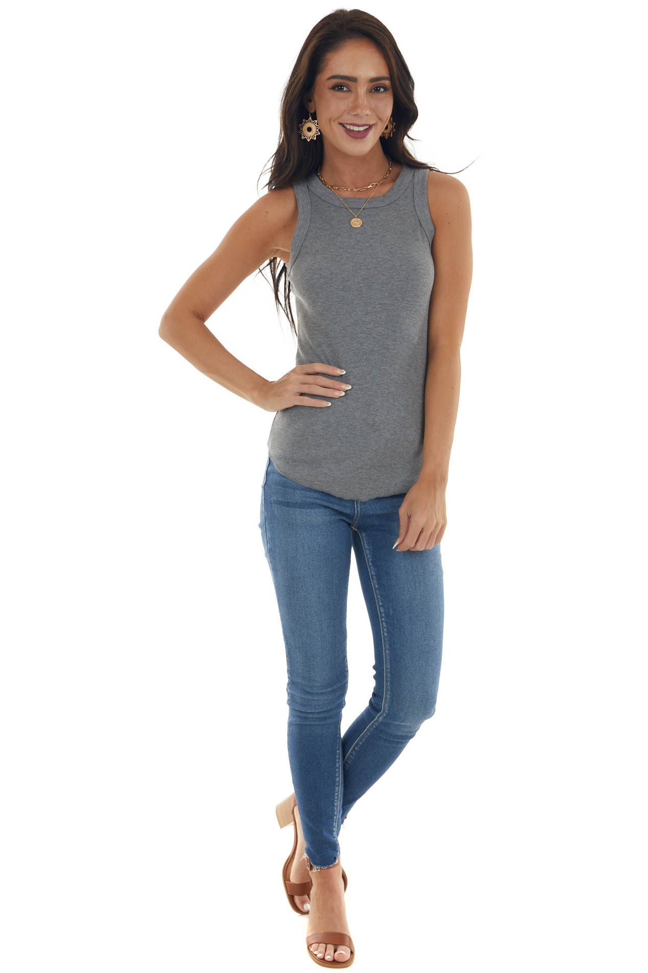 Steel Grey Ribbed Sleeveless Fitted Knit Top with Crewneck
