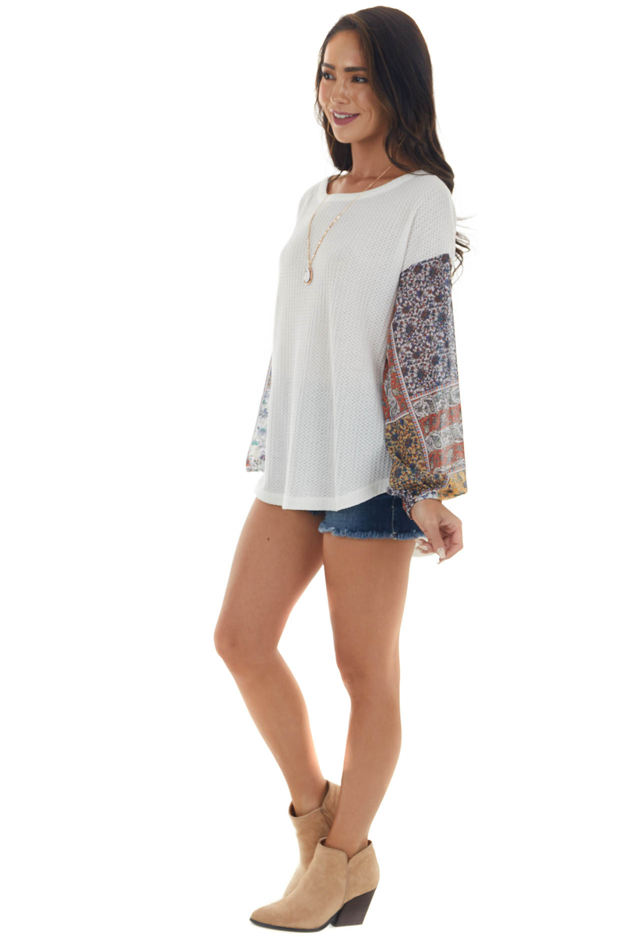 Off White Sheer Patchwork Print Sleeves Top